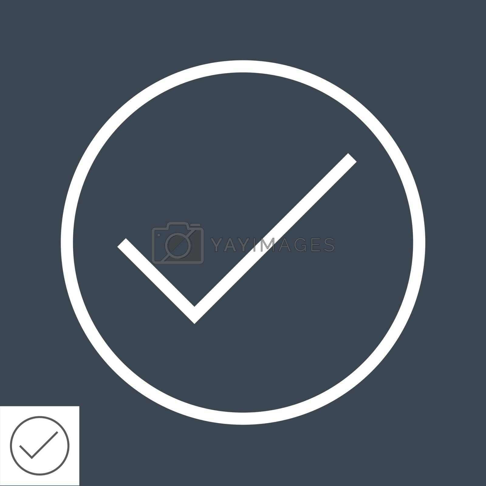 Check Mark Thin Line Vector Icon. Flat icon isolated on the black background. Editable EPS file. Vector illustration.