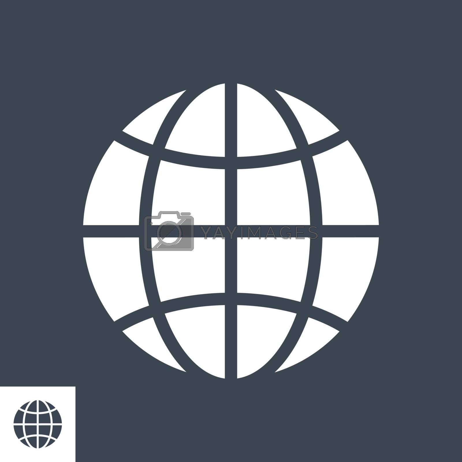 Globe Related Vector Glyph Icon. Isolated on Black Background. Vector Illustration.