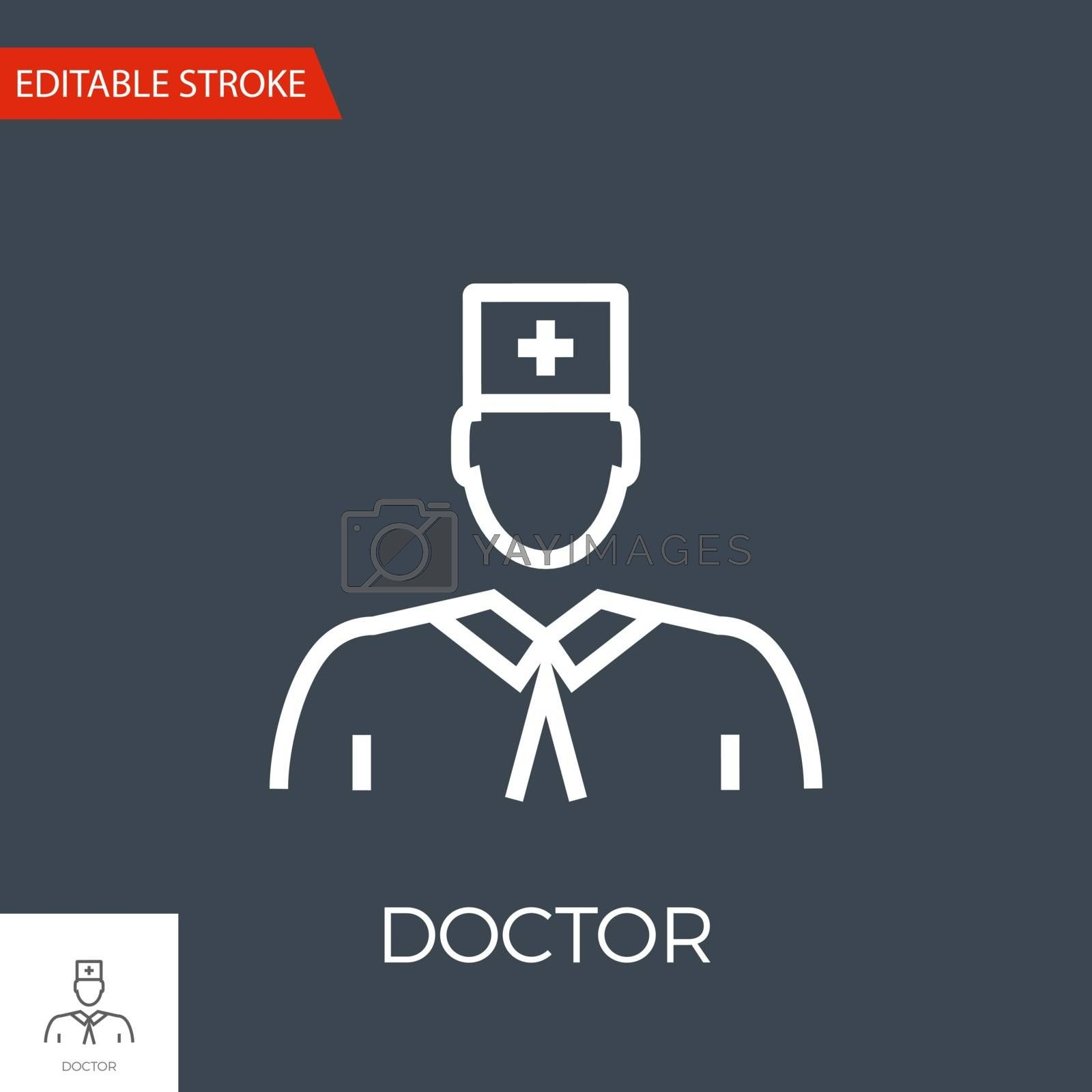 Doctor Thin Line Vector Icon. Flat Icon Isolated on the Black Background. Editable Stroke EPS file. Vector illustration.