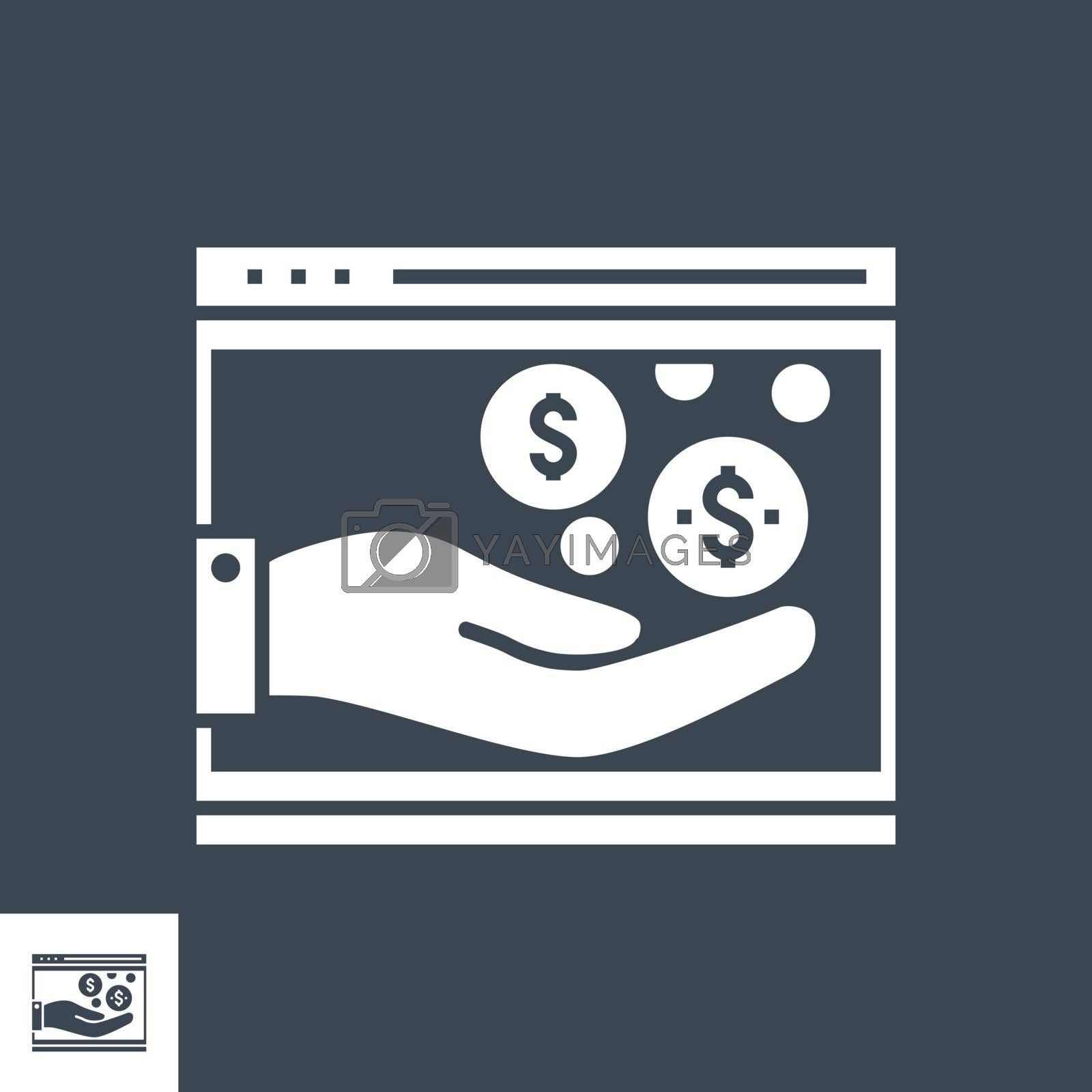 Income Related Vector Glyph Icon. Isolated on Black Background. Vector Illustration.