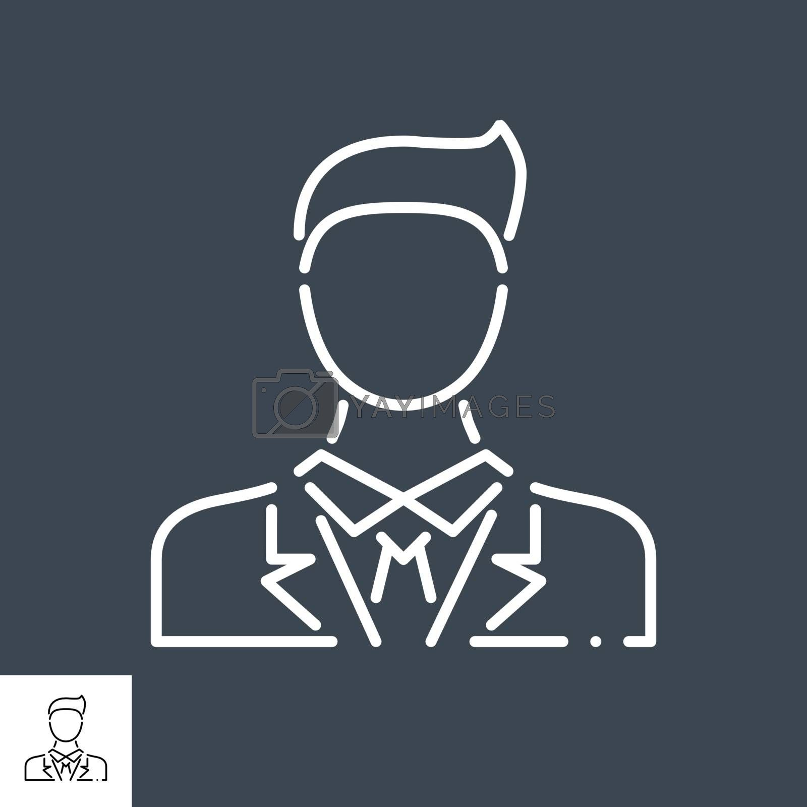 Businessman Related Vector Line Icon. Isolated on Black Background. Editable Stroke.
