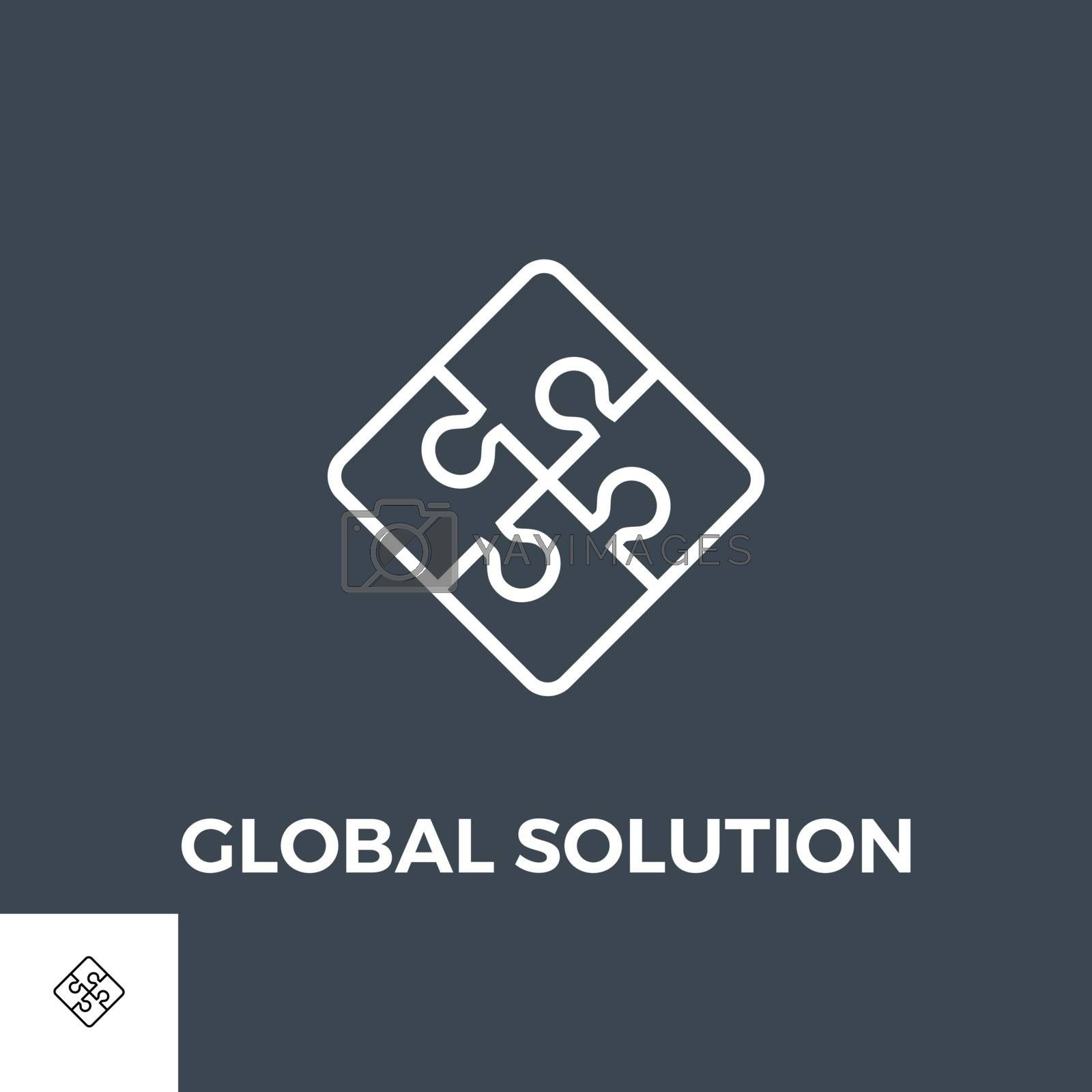Global Solution Related Vector Thin Line Icon. Isolated on Black Background. Vector Illustration.