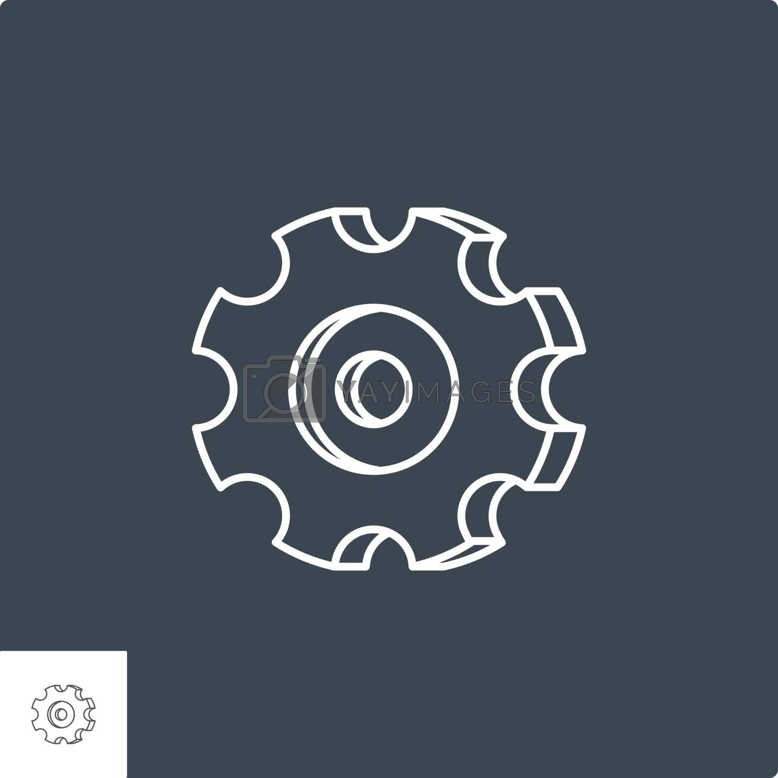 Gear Icon. Gear Related Vector Line Icon. Isolated on Black Background. Editable Stroke.