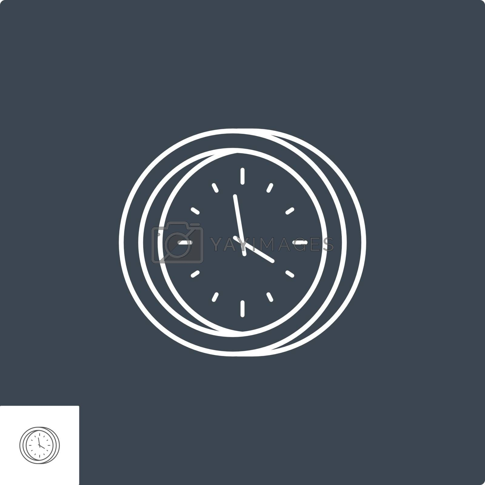 Clock Related Vector Line Icon. Isolated on Black Background.