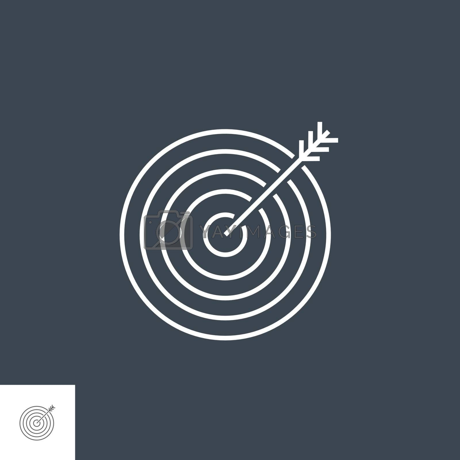 Keyword Targeting Related Vector Thin Line Icon. Isolated on Black Background. Editable Stroke. Vector Illustration.