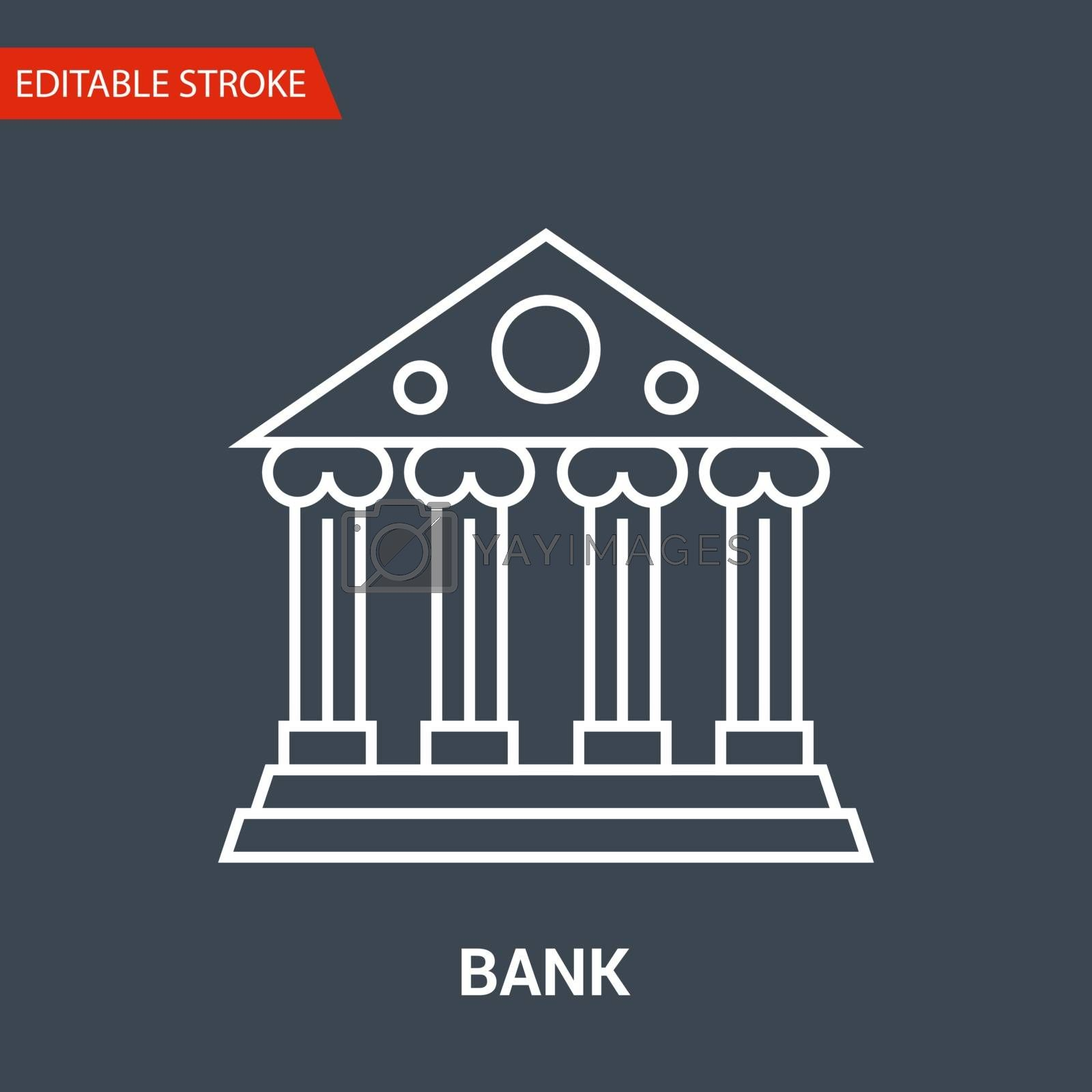 Bank Icon. Thin Line Vector Illustration - Adjust stroke weight - Expand to any Size - Easy Change Colour - Editable Stroke -