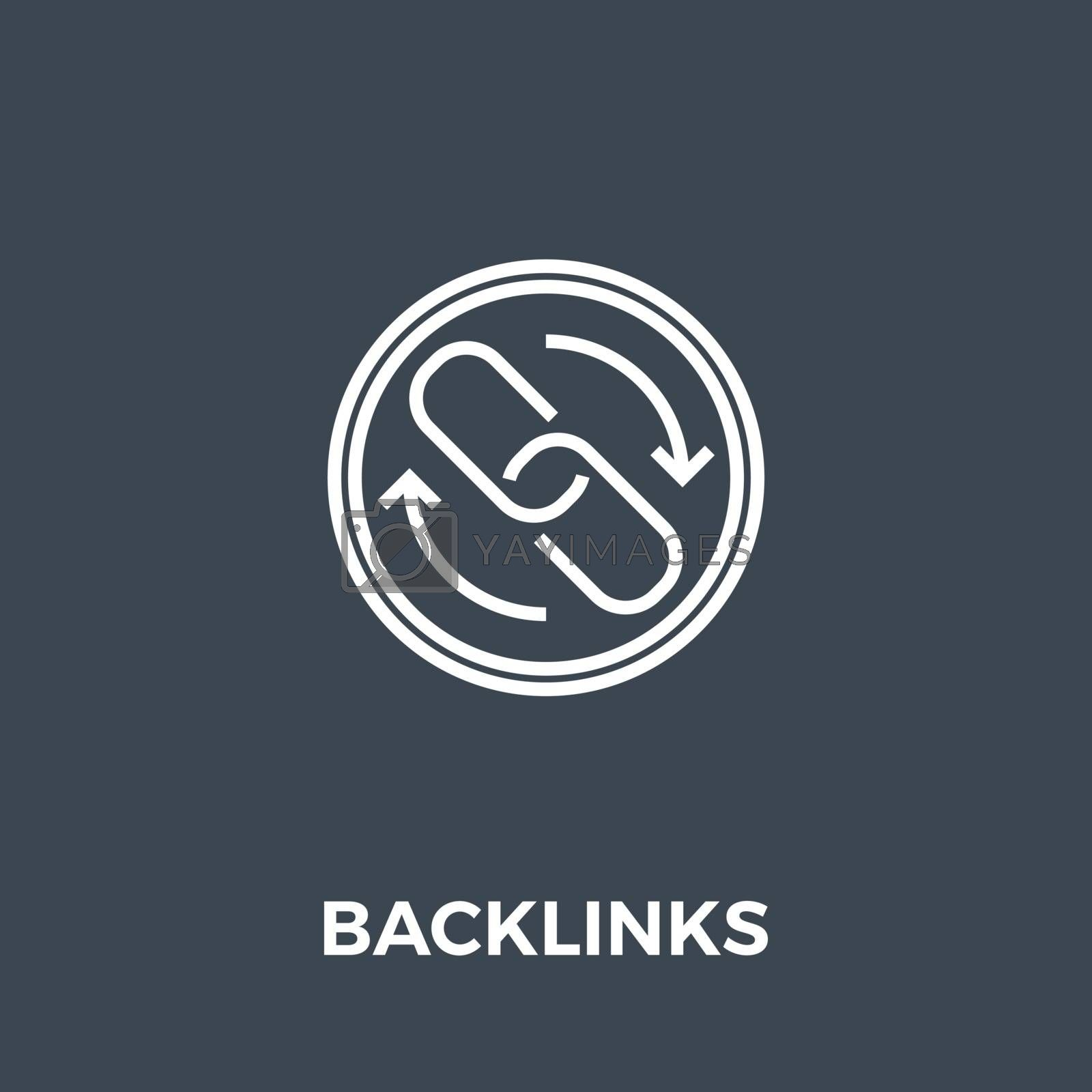 Backlinks Related Vector Thin Line Icon. Isolated on Black Background. Editable Stroke. Vector Illustration.