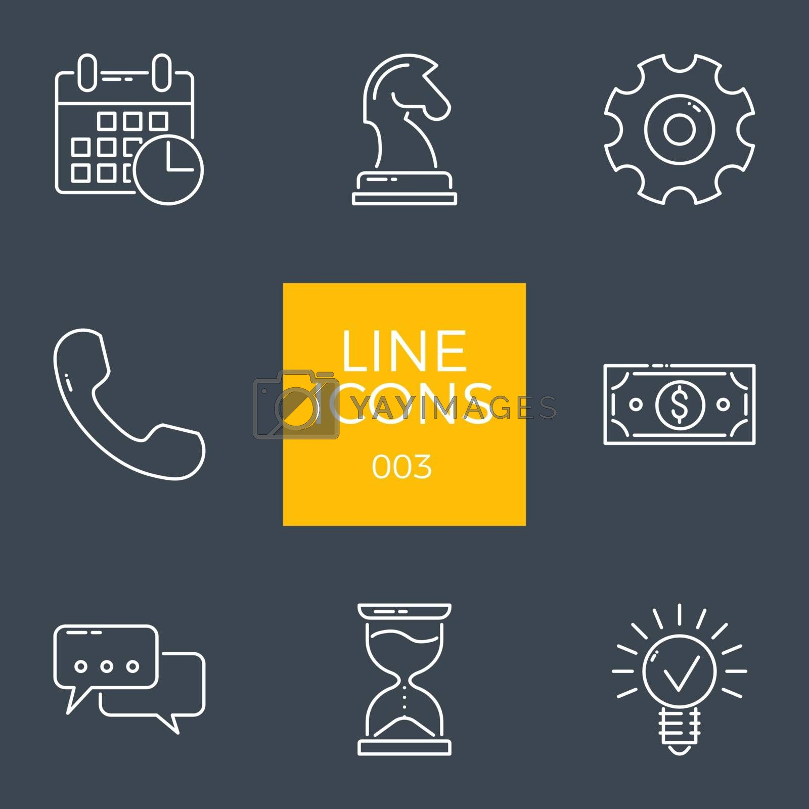 Business Related Vector Line Icons Set. Isolated on Black Background. Editable Stroke.