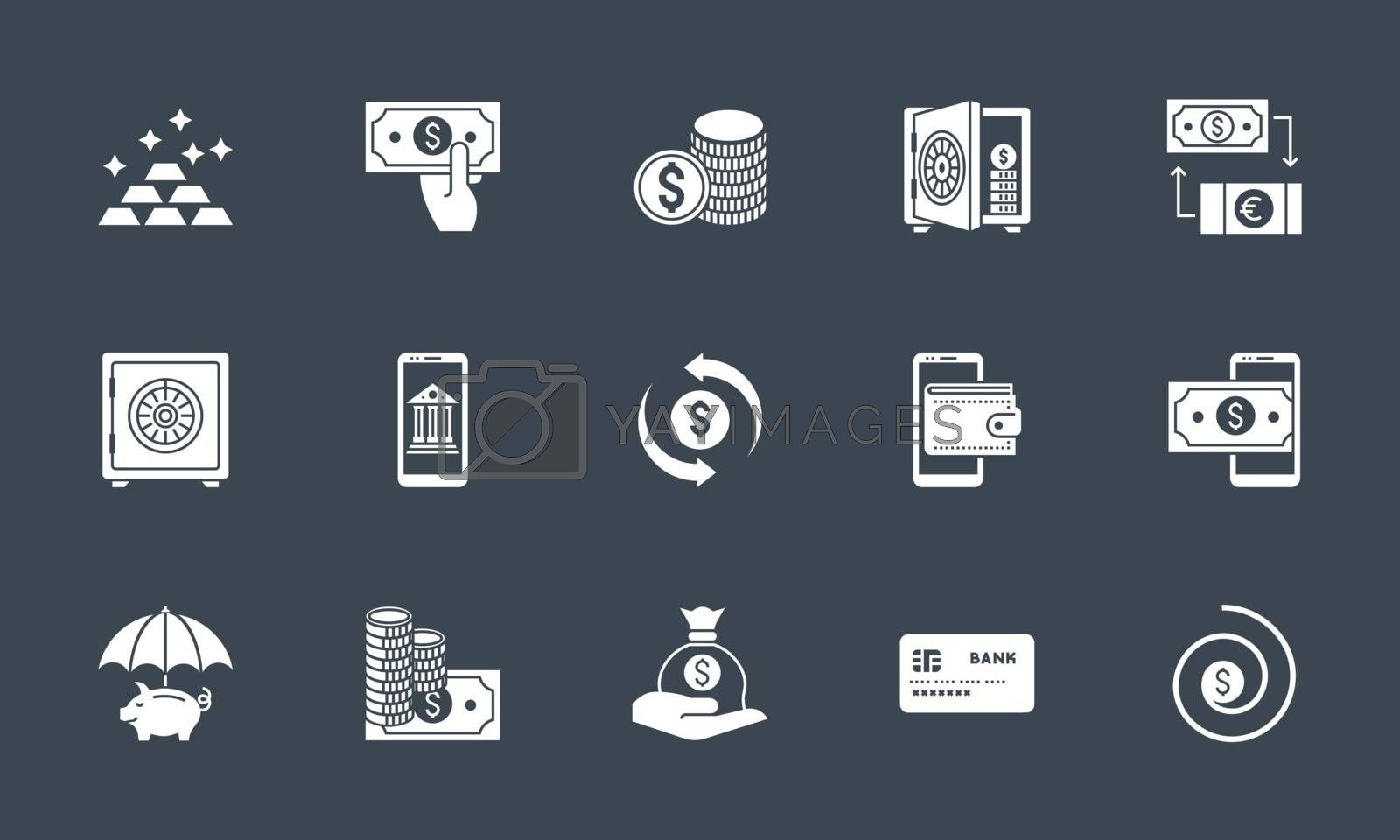 Banking icons set. Related vector glyph icons. Isolated onblack background. Vector illustration.