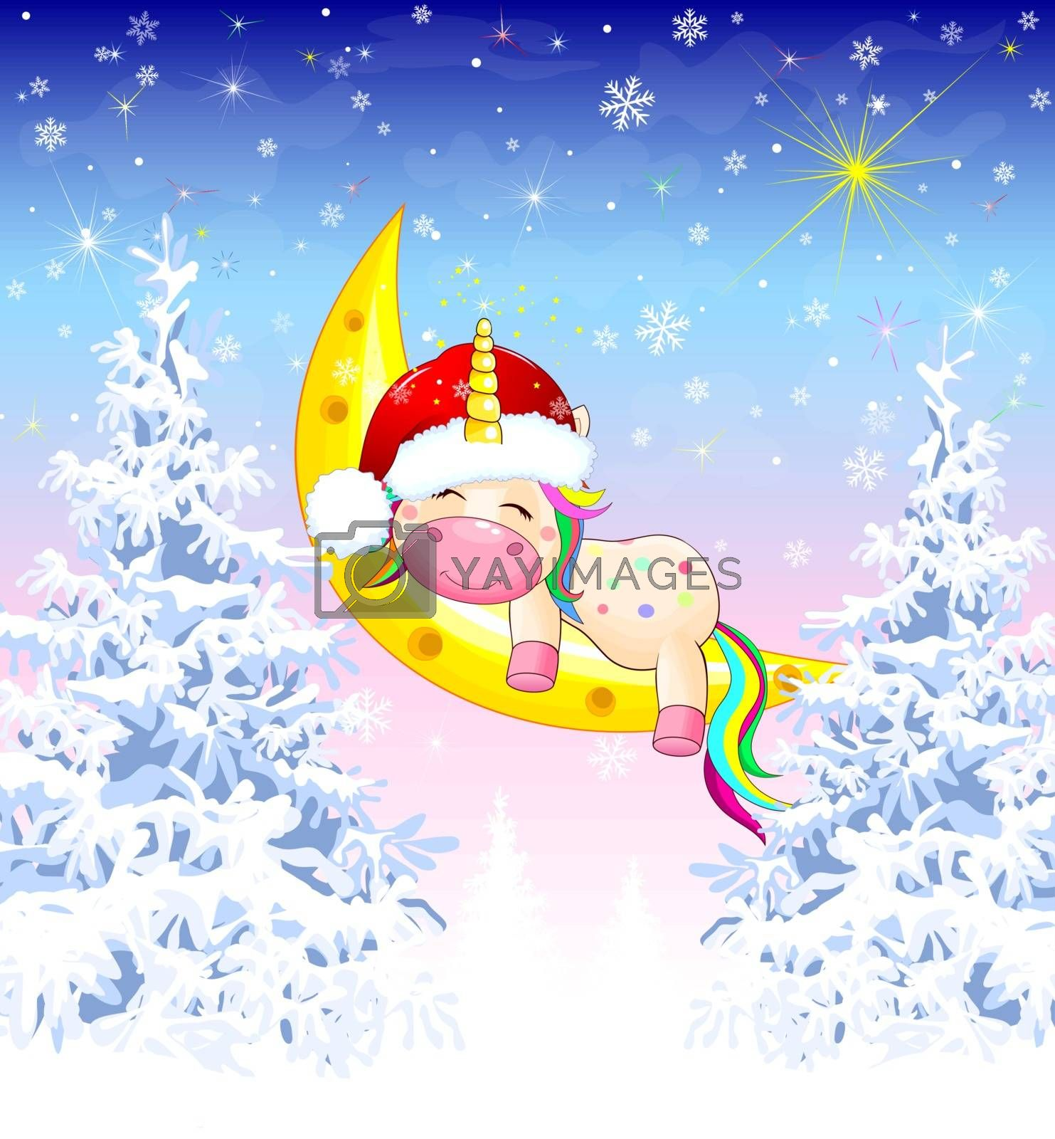Unicorn winter forest Christmas by liolle