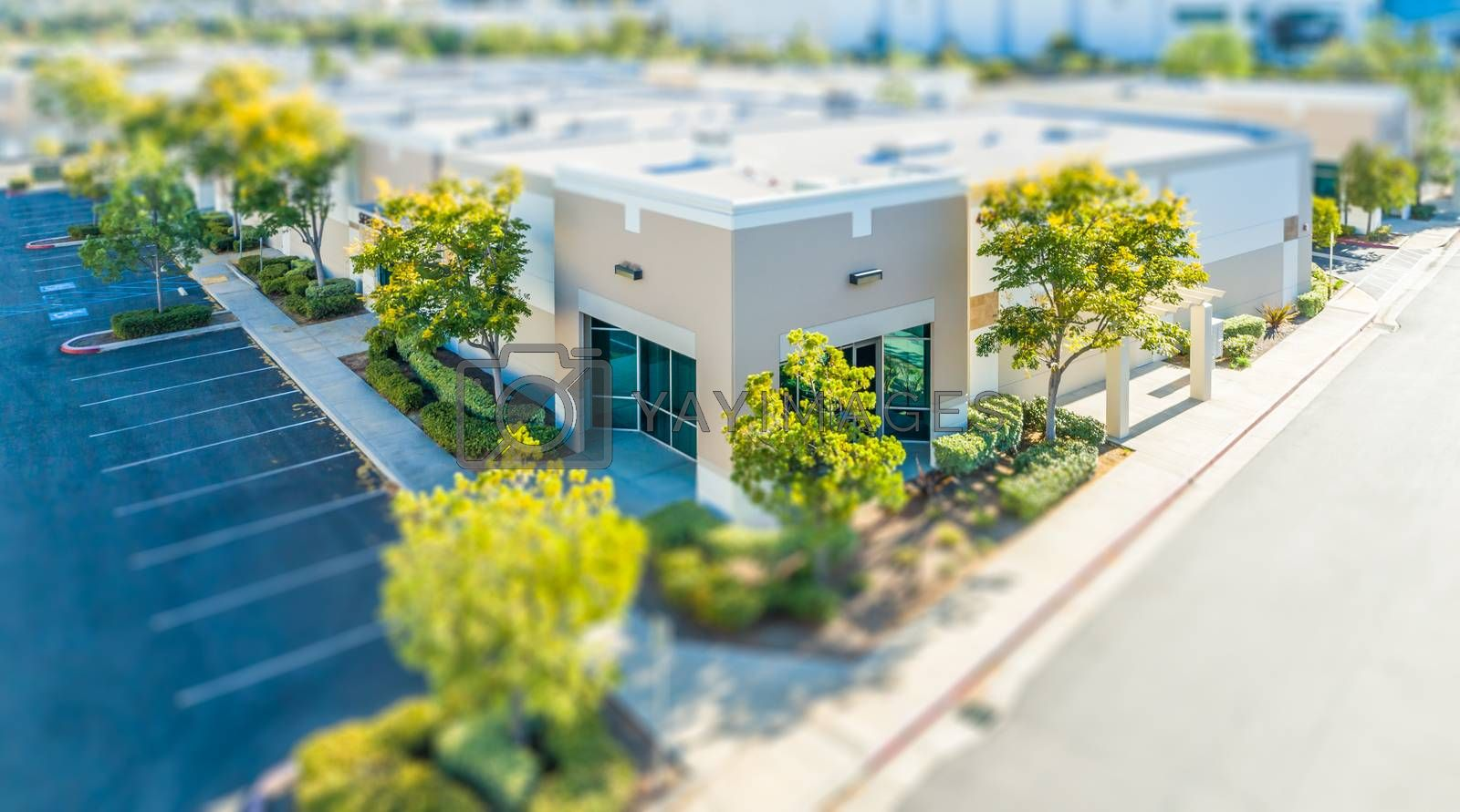 Aerial View of Commercial Buildings With Tilt-Shift Blur.