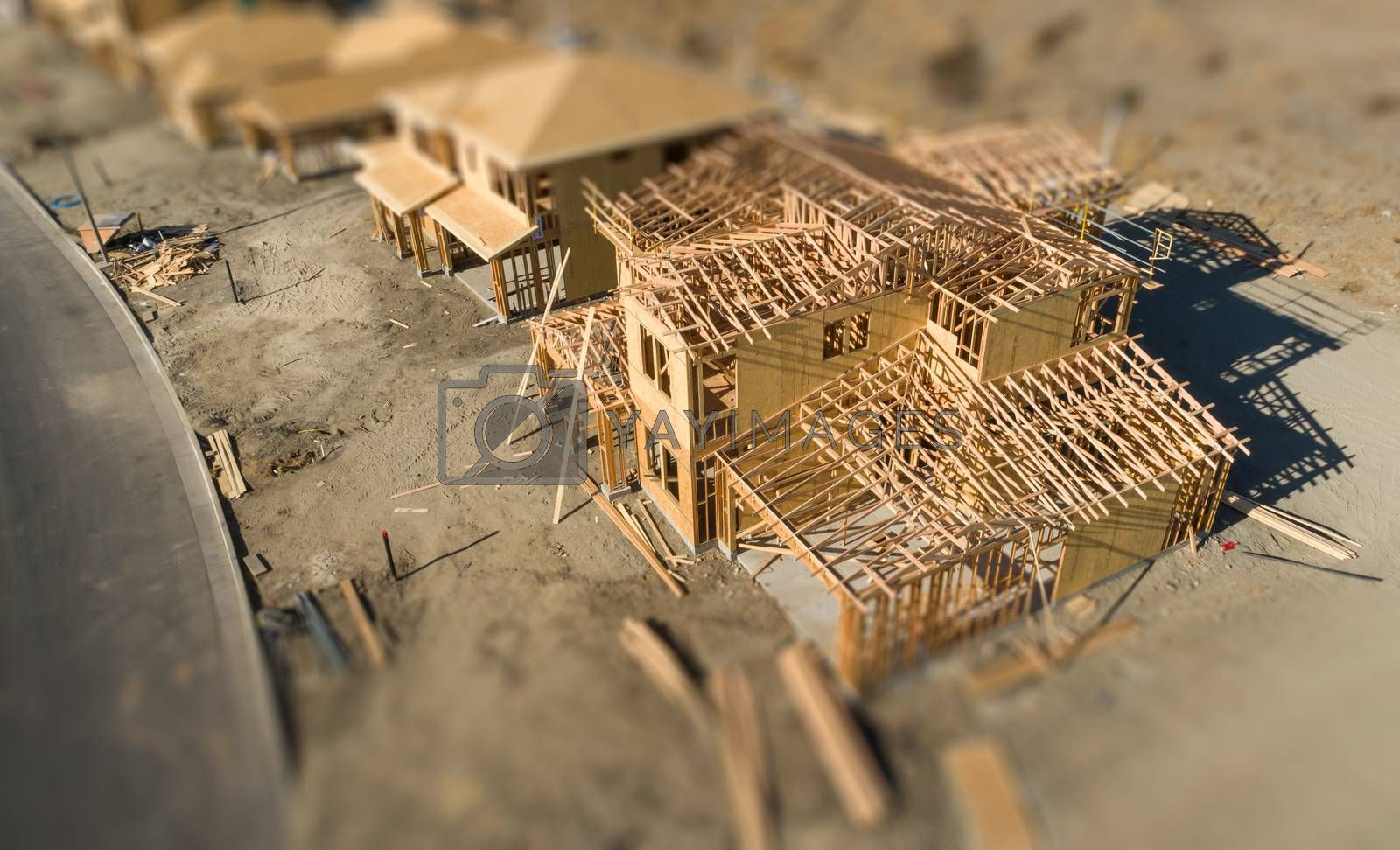 Aerial View of New Homes Construction Site with Tilt-Shift Blur by Feverpitched