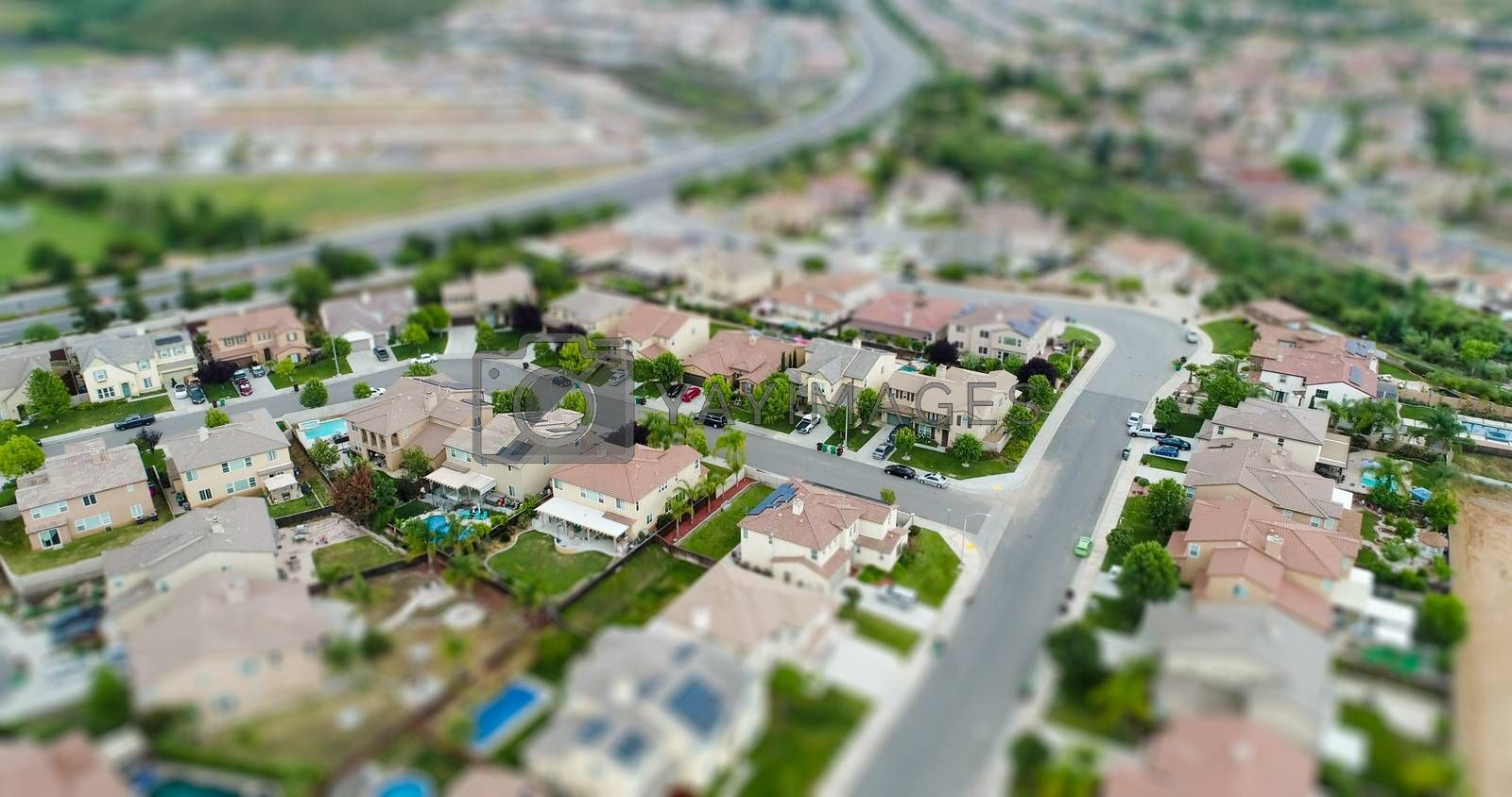 Aerial View of Populated Neigborhood Of Houses With Tilt-Shift B by Feverpitched
