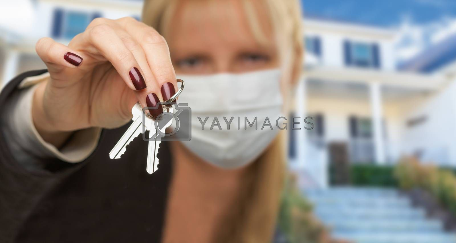 Woman Presenting House Keys Wearing Medical Face Mask by Feverpitched