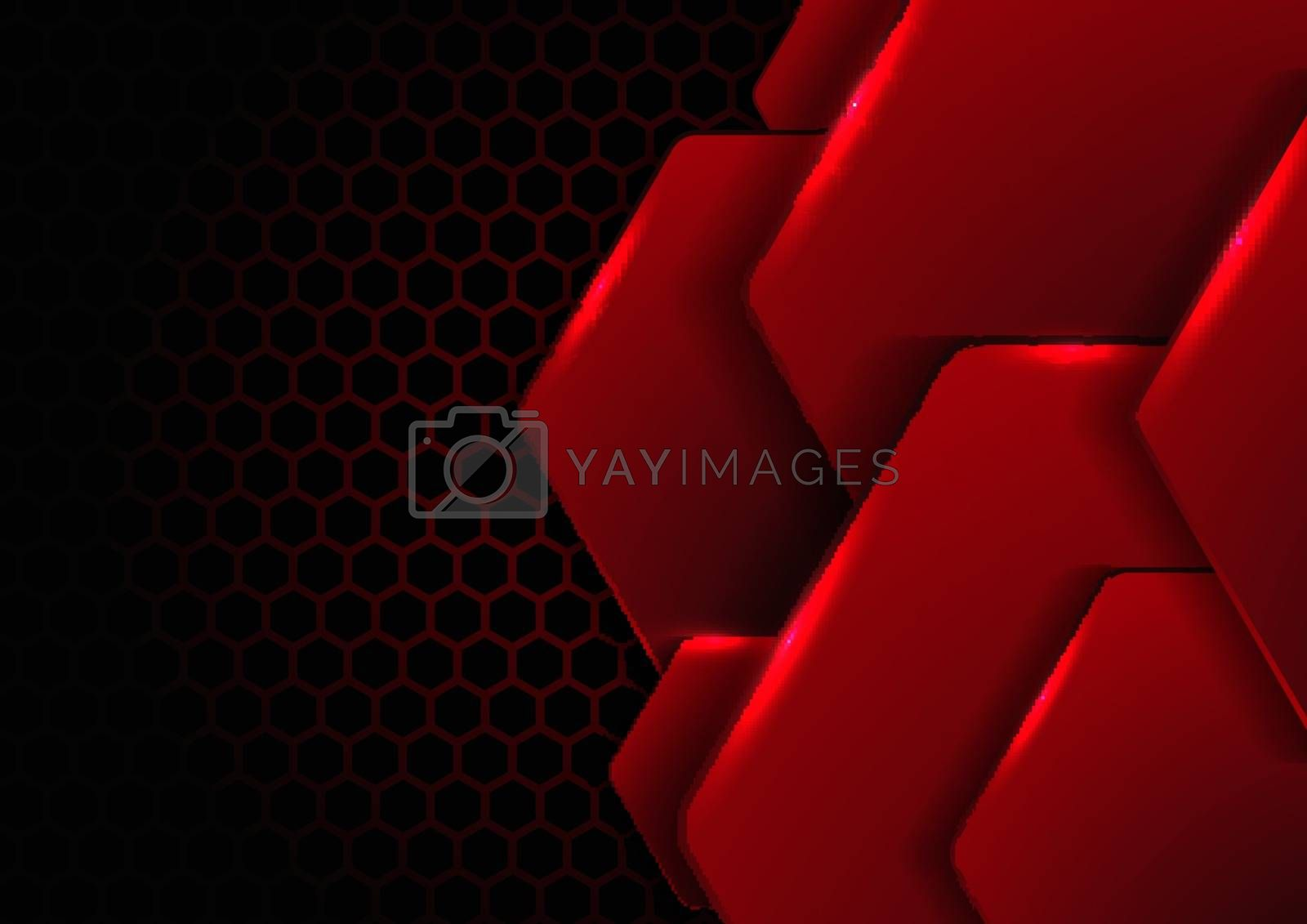 Abstract black and red metallic hexagon with lighting on hexagons texture pattern technology innovation concept background. Vector illustration