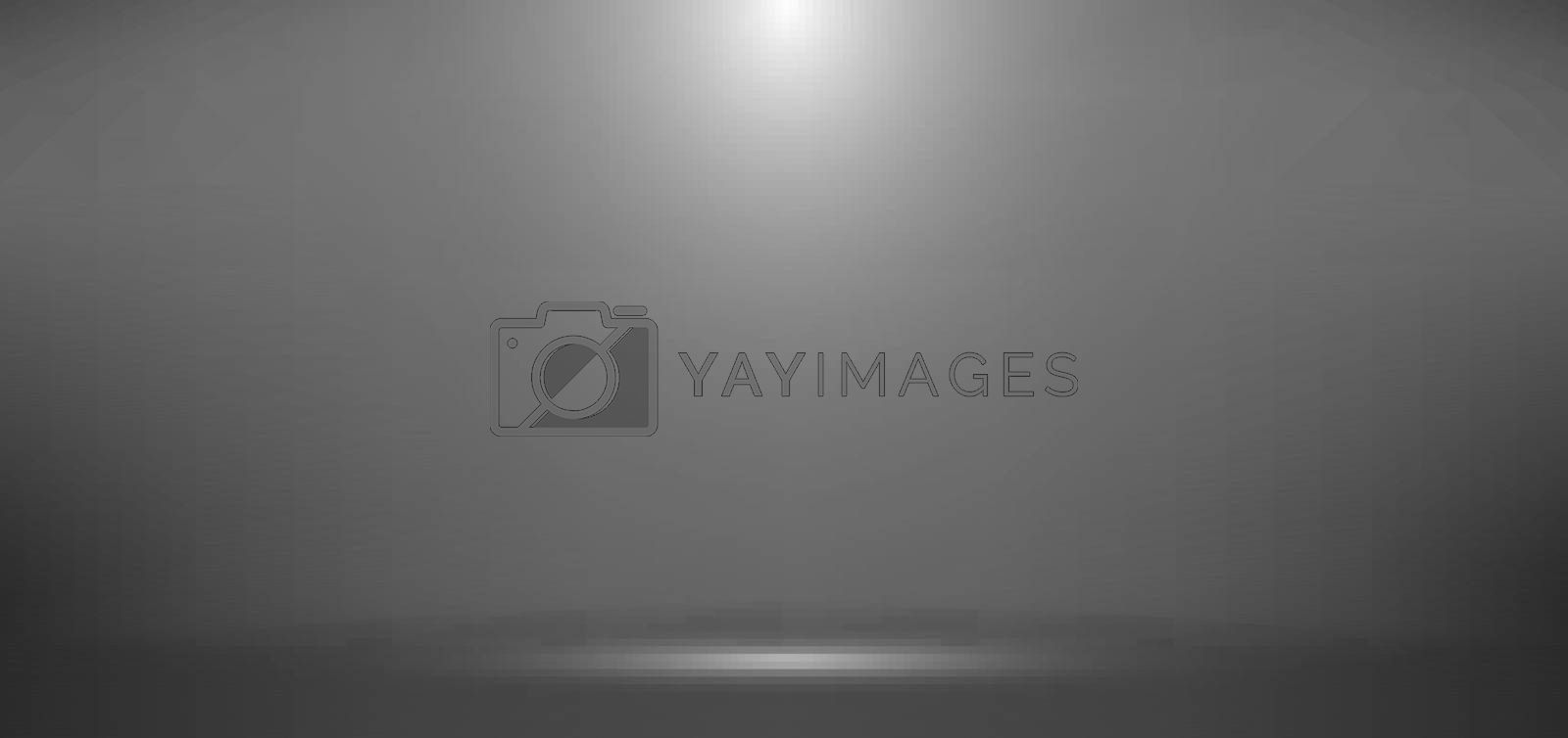 3D empty gray studio room background with spotlight on stage background. Display your product or artwork. Vector illustration