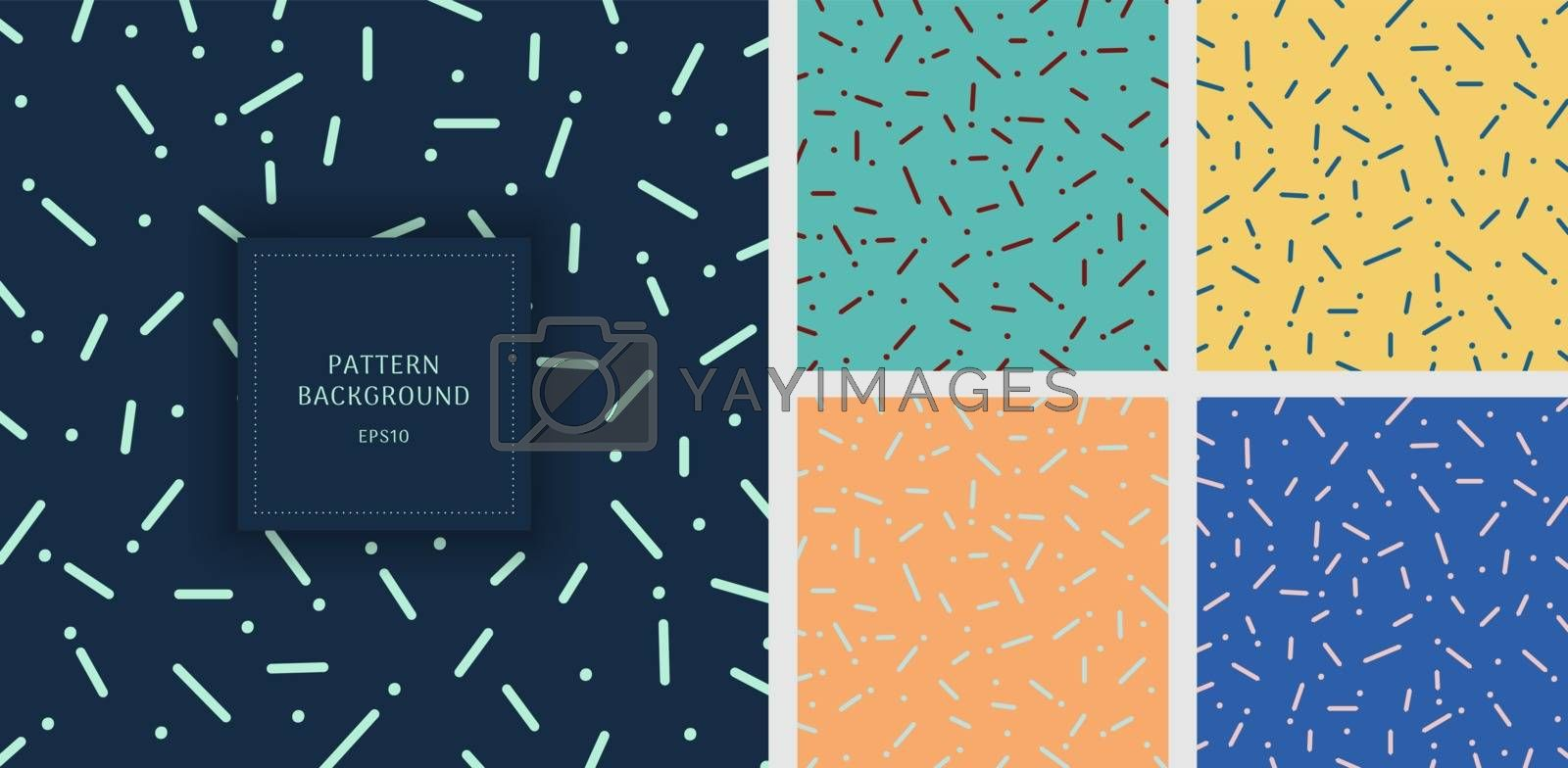 Set of abstract rounded line and dot pattern background. Vector illustration