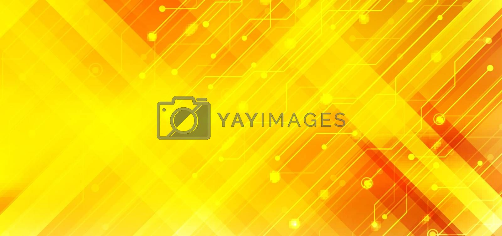 Abstract business technology structure circuit computer diagonal stripes yellow and orange gradient color background with lighting effect. Vector illustration