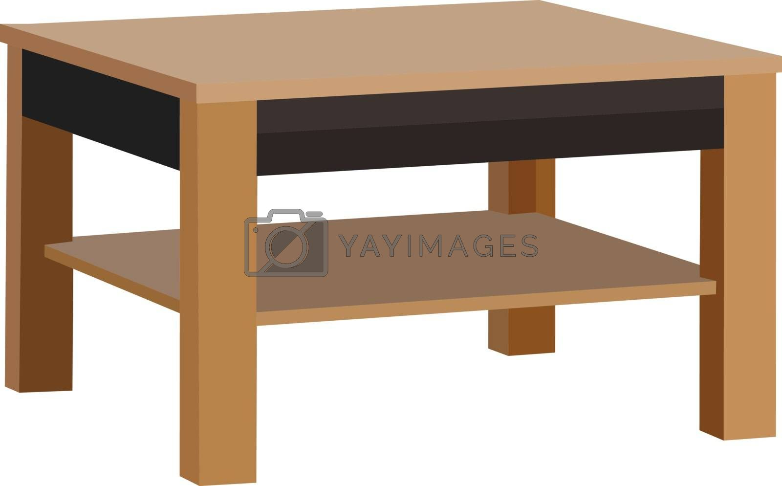 Brown coffee wooden table on white background