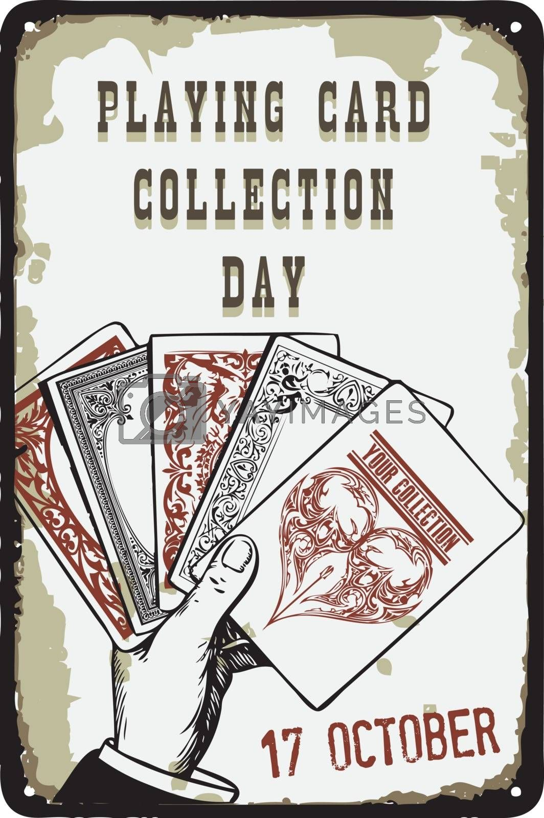 Old vintage sign to the date - Playing Card Collection Day. Vector illustration for the holiday and event in october.