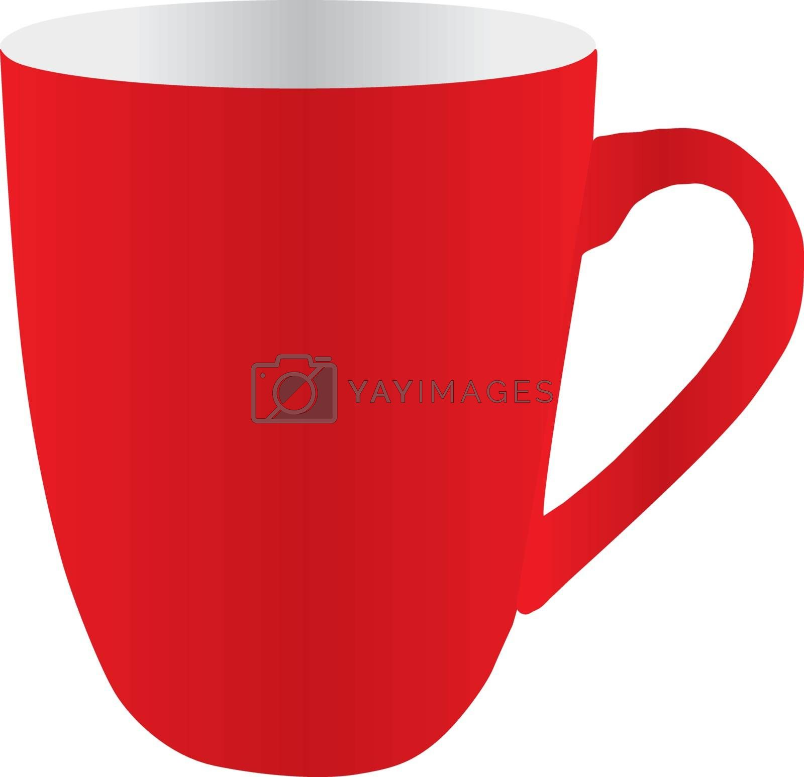 Big tea red cup on white background