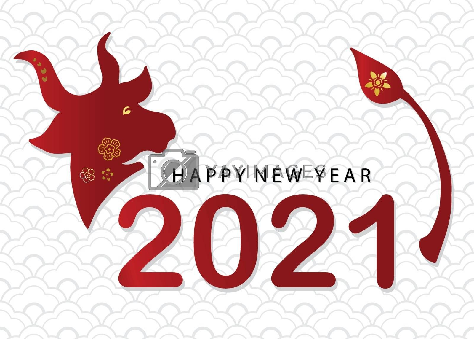 Happy Chinese new year 2021 greeting with lantern,flower,ox in p by supidcha