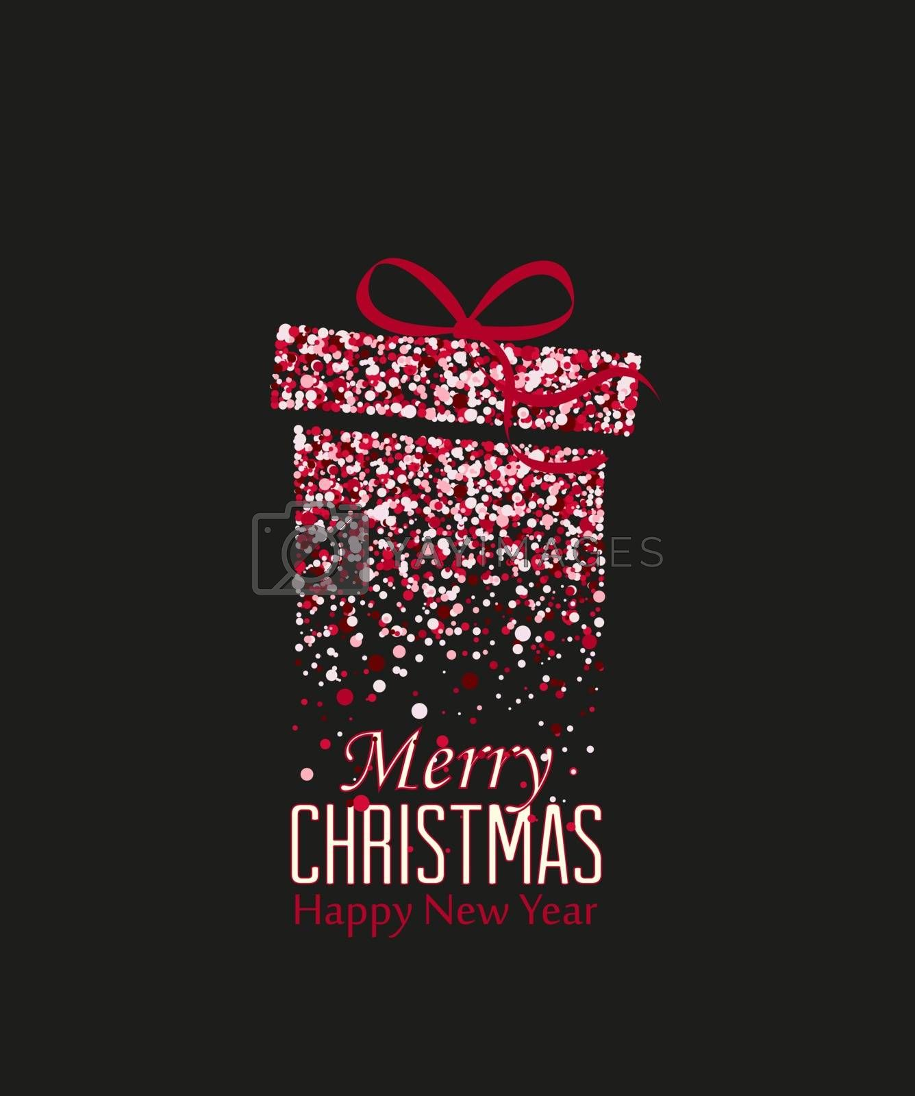 Vector illustration Christmas gift with dots. Merry Christmas card