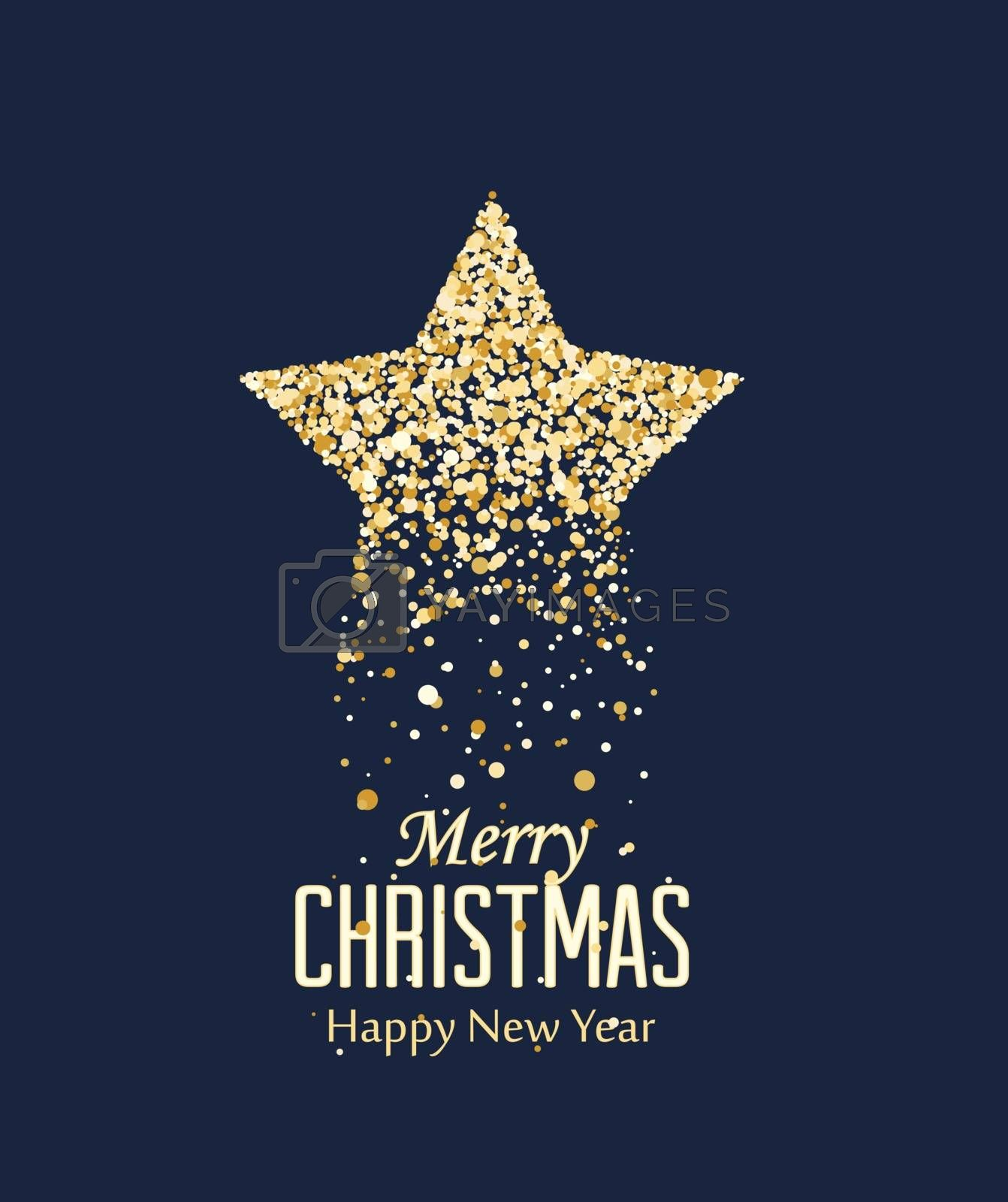 Vector illustration Christmas star with dots. Merry Christmas card