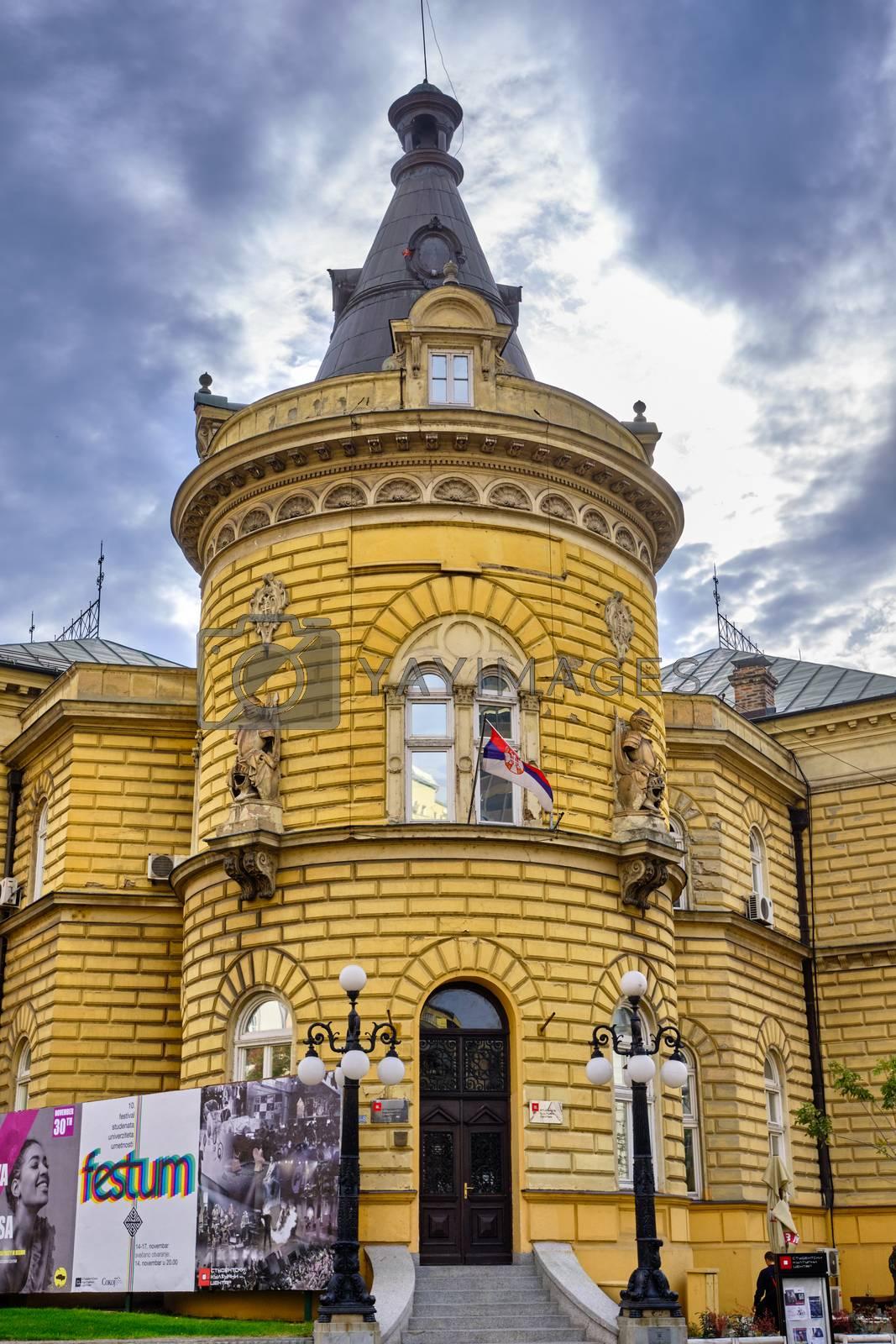 Belgrade / Serbia - November 17, 2019: Student Cultural Center (Studentski Kulturni Centar, SKC), cultural center and concert venue in Belgrade, Serbia