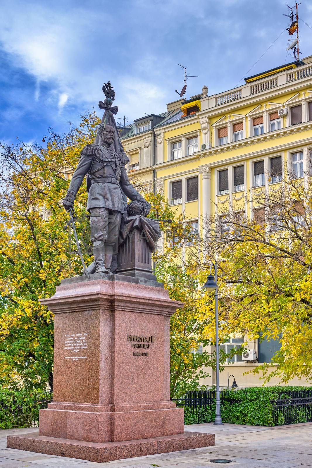Belgrade / Serbia - November 17, 2019: Monument to Russian Emperor Nicholas II Alexandrovich Romanov in the center of Belgrade, capital of Serbia, in honor of his support to Serbia in First World War