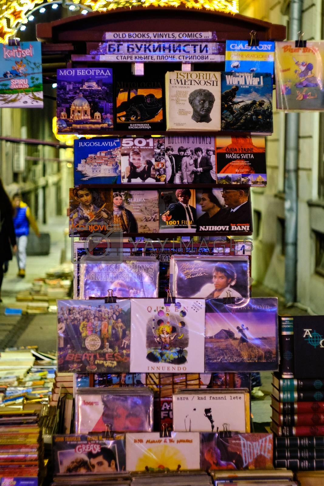 Belgrade / Serbia - December 15, 2019: Second-hand books and LP records street stall in pedestrian Knez Mihailova street in Belgrade, Serbia