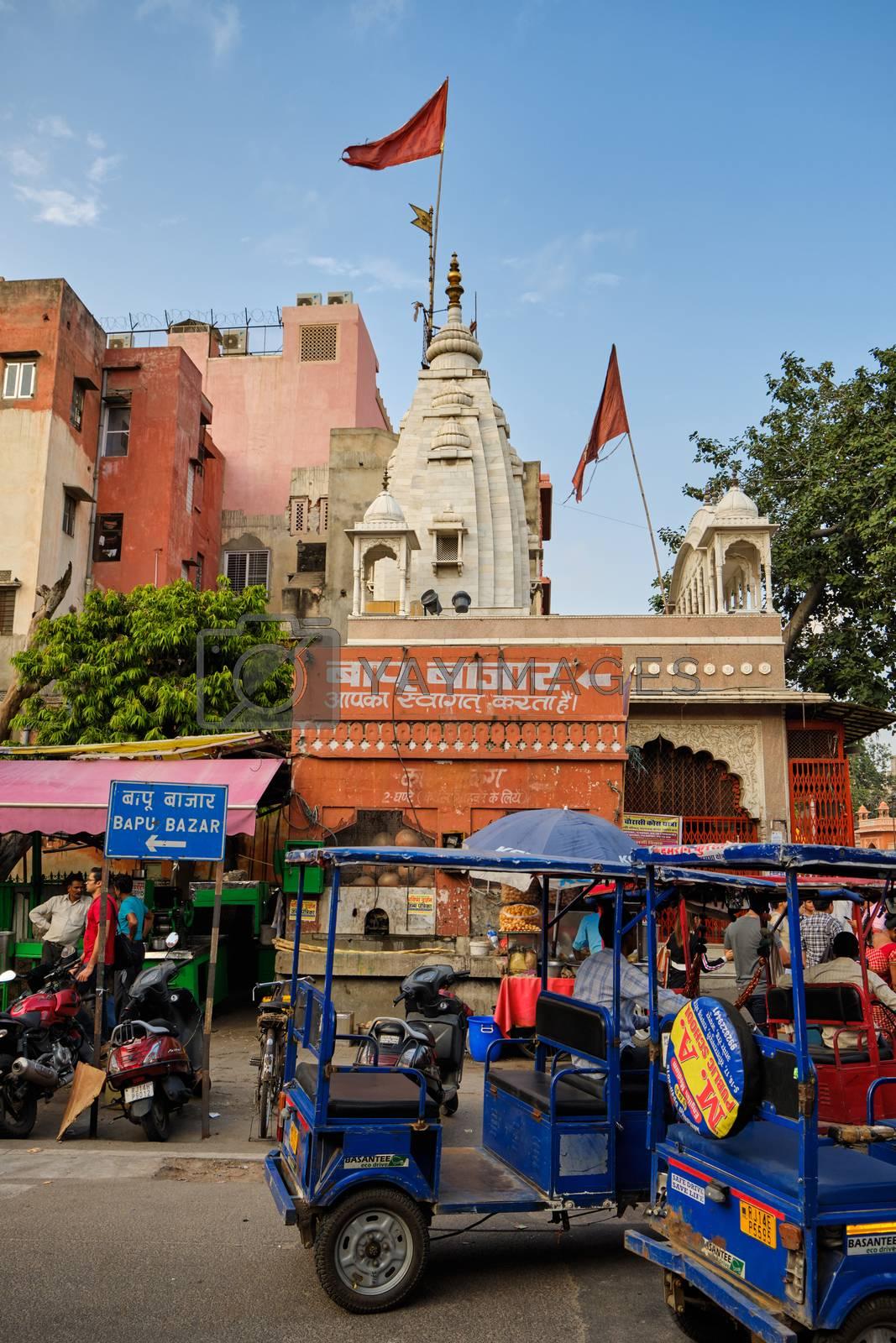 Jaipur, Rajasthan / India - September 28, 2019: Mandir Shri Hanuman Ji Hindu temple near the Chandpole Gate of the walled city of Jaipur, India