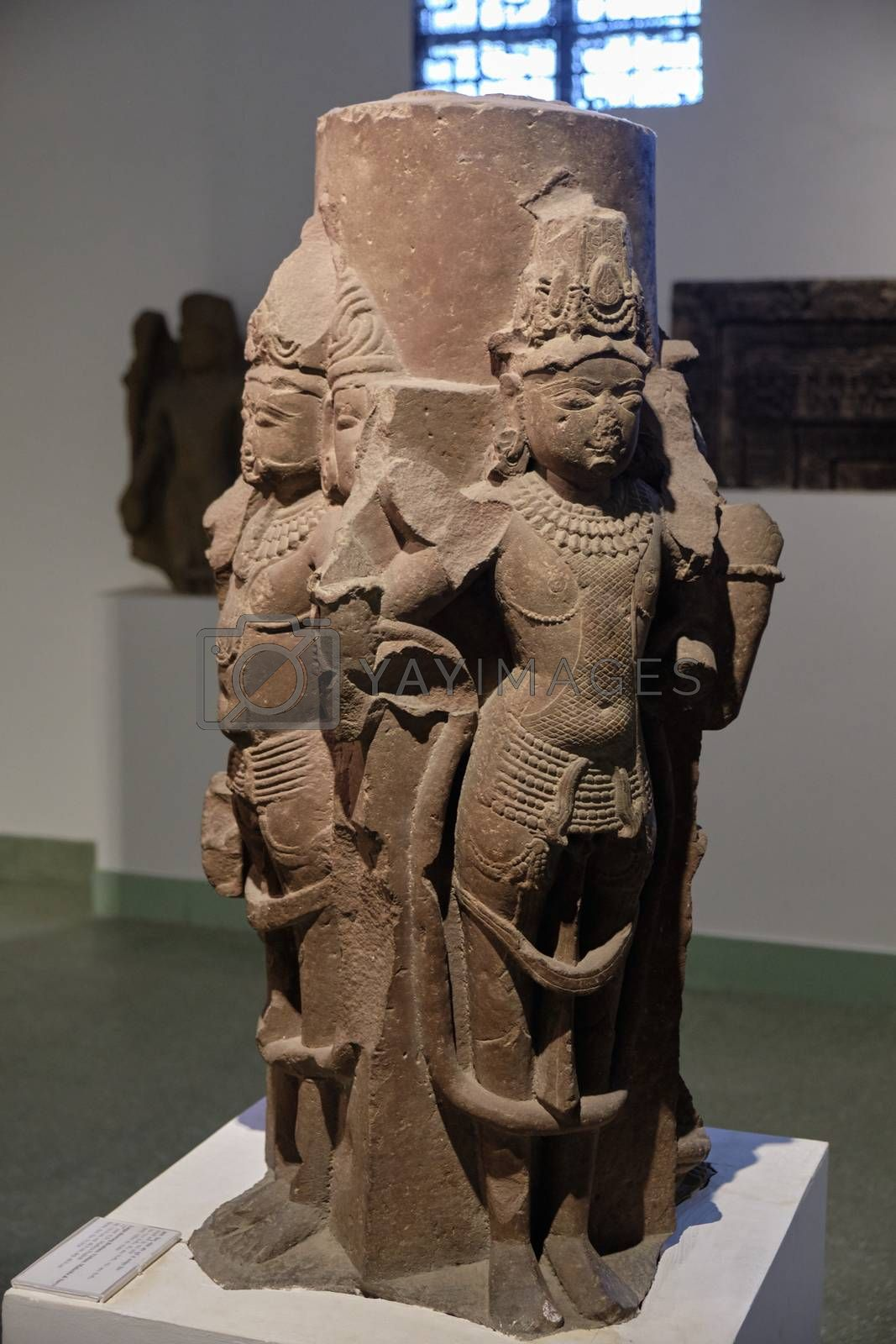 New Delhi / India - September 26, 2019: Stone statue of Hindu god Brahma in the National Museum of India in New Delhi