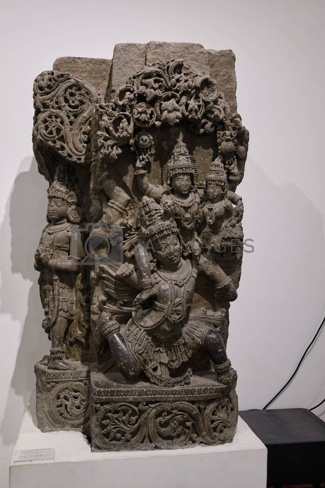New Delhi / India - September 26, 2019: Stone relief of Hindu deity Lakshmi Narayan, manifestation of Vishnu, in the National Museum of India in New Delhi