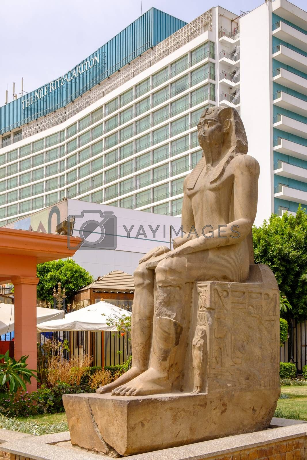 Cairo / Egypt - May 25th 2019: View of the Ritz-Carlton luxury hotel in Cairo from the grounds of the iconic Egyptian Museum in Cairo, Egypt
