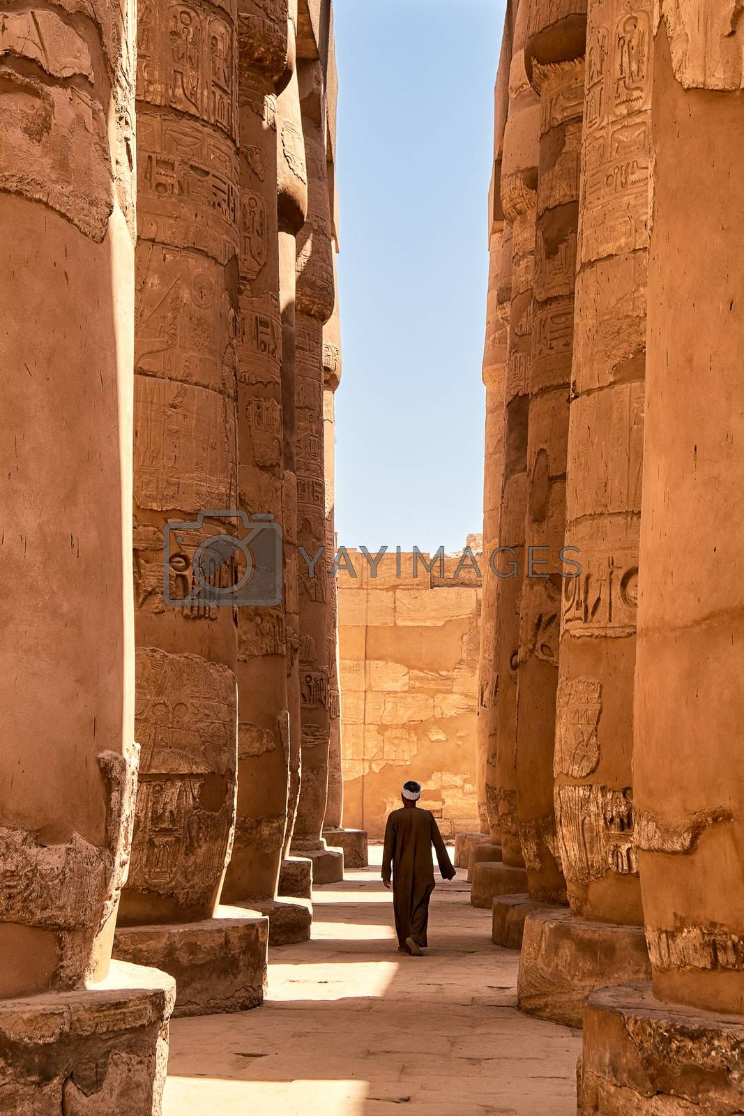 Massive pillars of the Great Hypostyle Hall in the Karnak temple complex (built about 1250 BC) in Luxor, Egypt