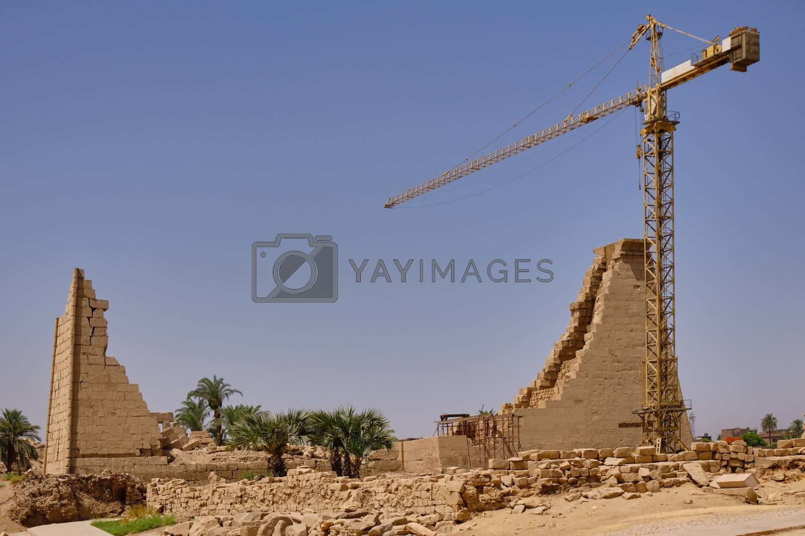 Luxor / Egypt - May 23 2019: Remains of Karnak temple complex and Karnak Open Air Museum (about 1250 BC), Luxor, Egypt