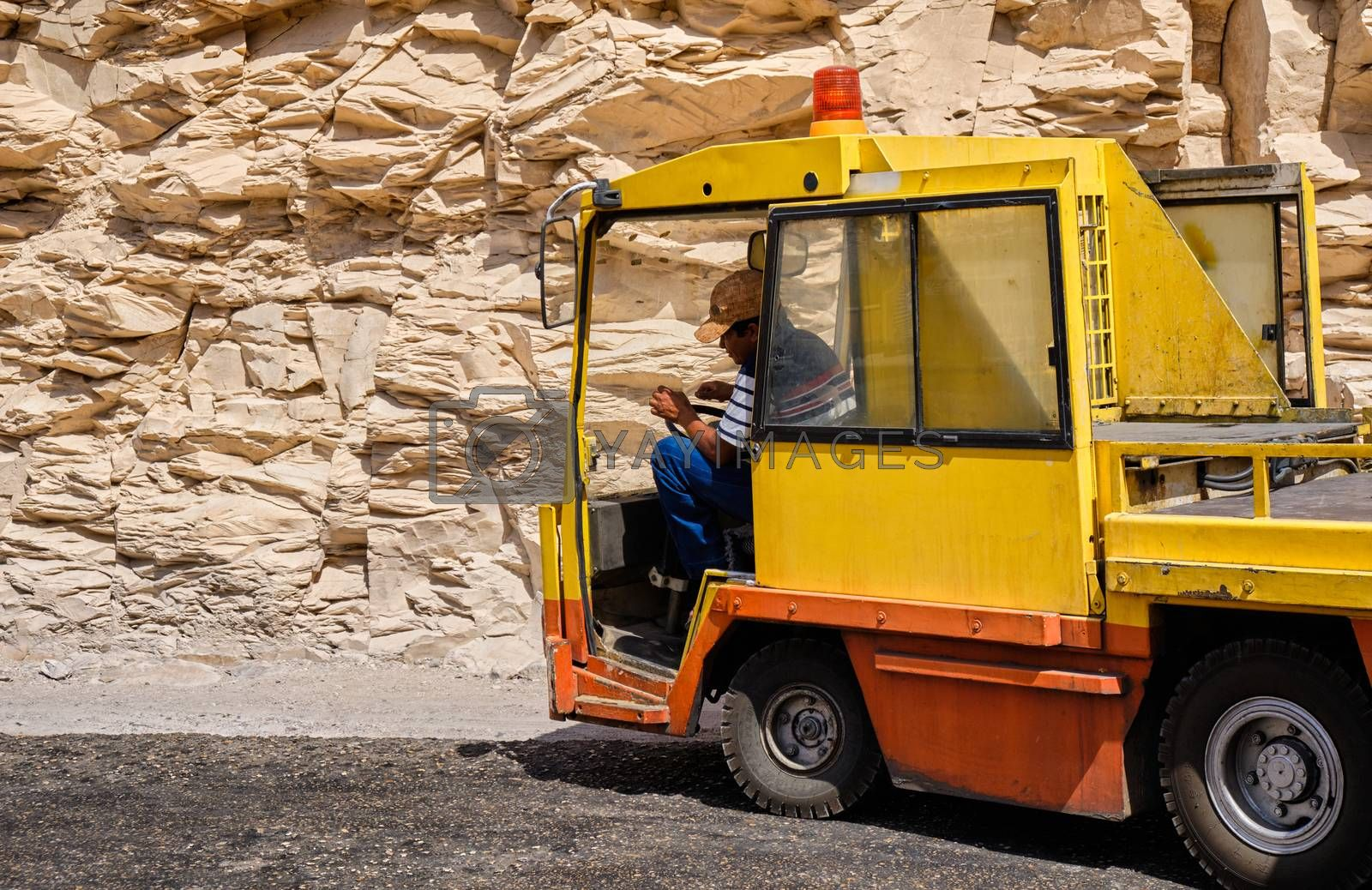 Luxor / Egypt - May 23, 2019: Tuf-tuf (little electrical train car) which ferries tourists to the pharaoh tombs in the Valley of the Kings in Luxor, Egypt