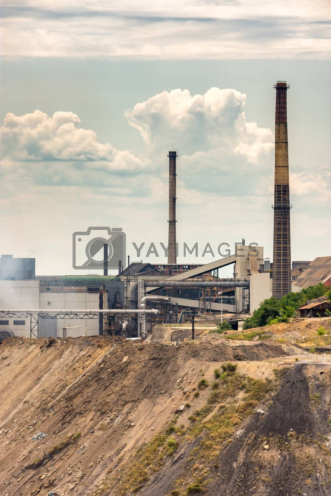 Bor / Serbia - July 13, 2019: Copper mine and smelting complex of Zijin Bor Copper in Bor, Eastern Serbia, one of the largest copper mines in Europe owned by Chinese mining company Zijin Mining Group
