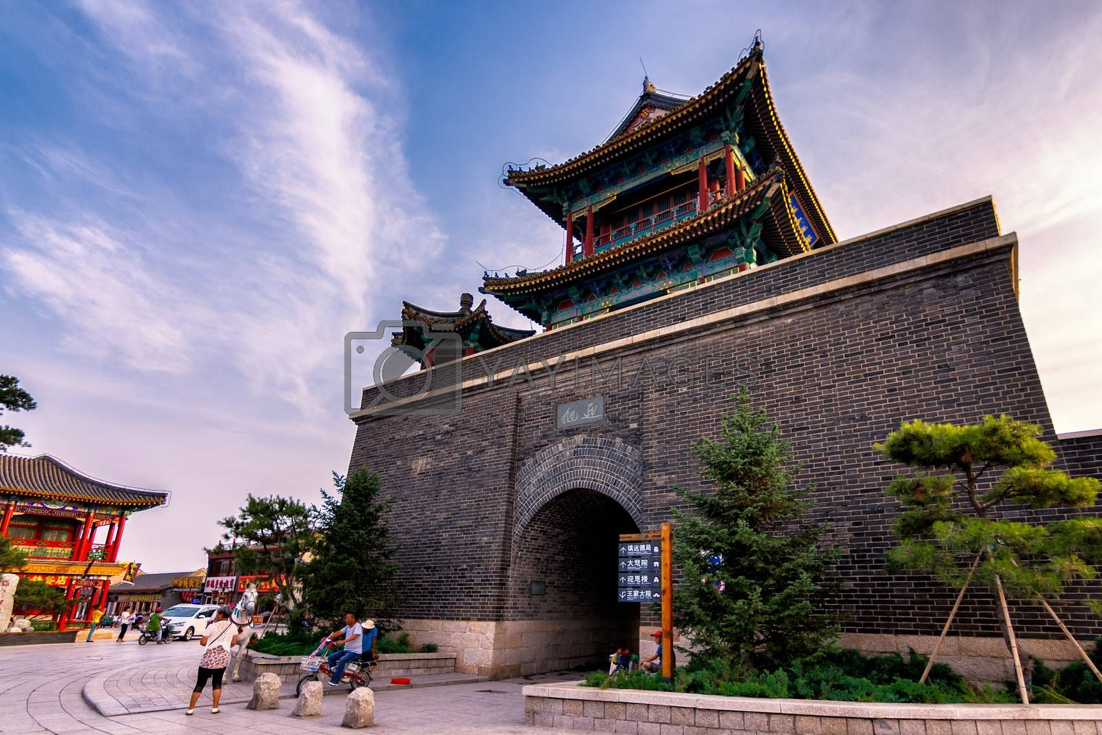 Qinhuangdao / China - July 23, 2016: The Bell and Drum Tower at Laolongtou Great Wall, Shanhaiguan, the Shanhai Pass