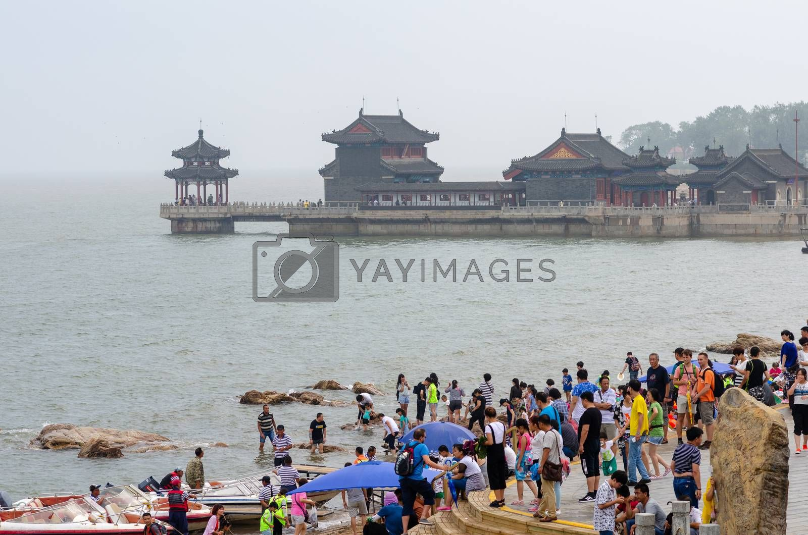 Qinhuangdao / China - July 23, 2016: Laolongtou Great Wall (Old Dragon's Head) scenic area, where the Great Wall of China meets the Bohai Sea