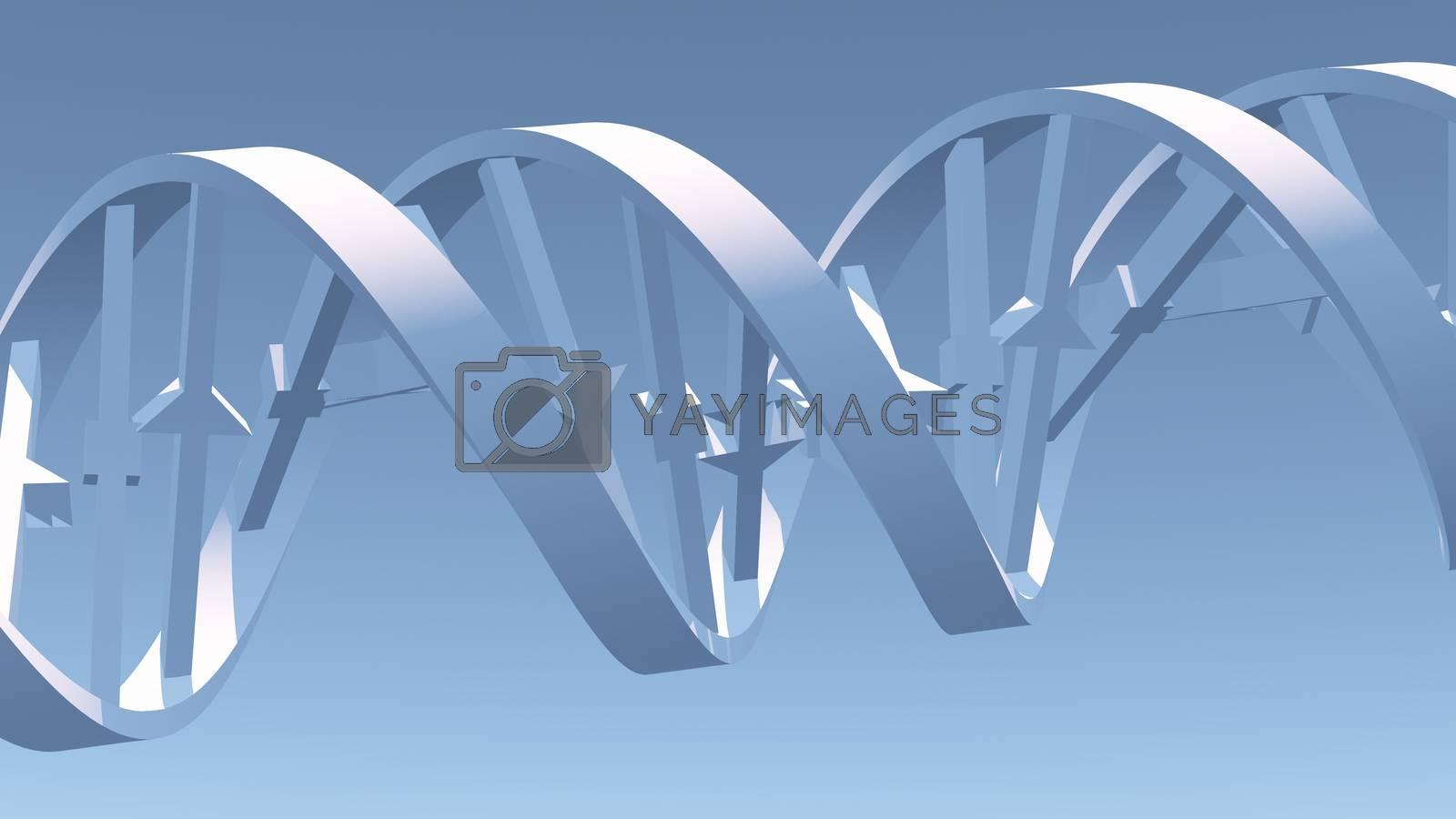 Modern art. DNA Strand. 3D rendering