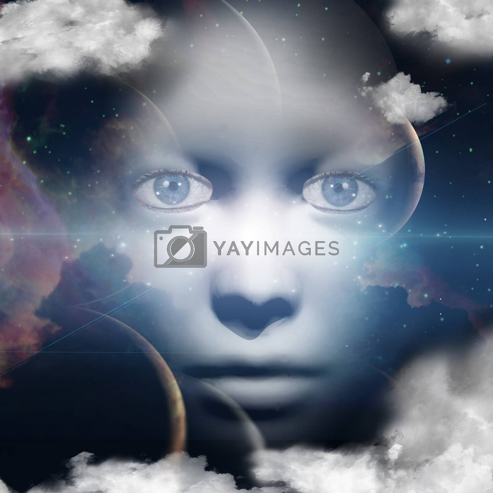 Woman face in space. 3D rendering