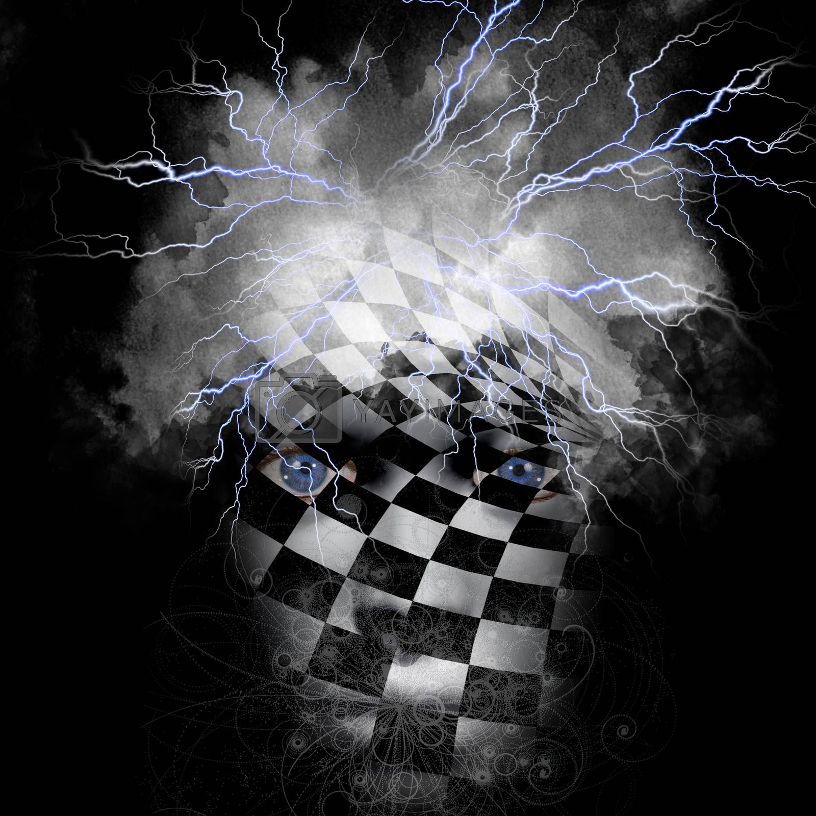 Mask with chessboard and lightnings on black. 3D rendering