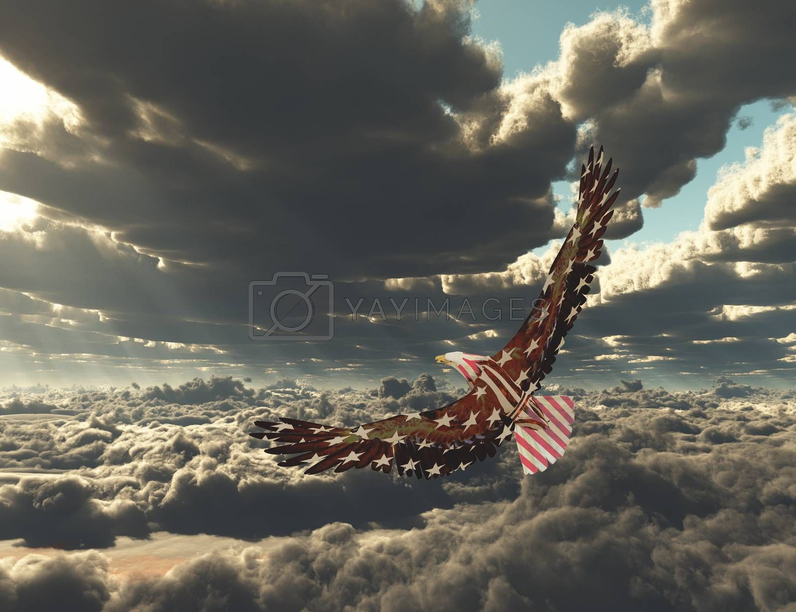 Eagle flies above clouds. 3D rendering