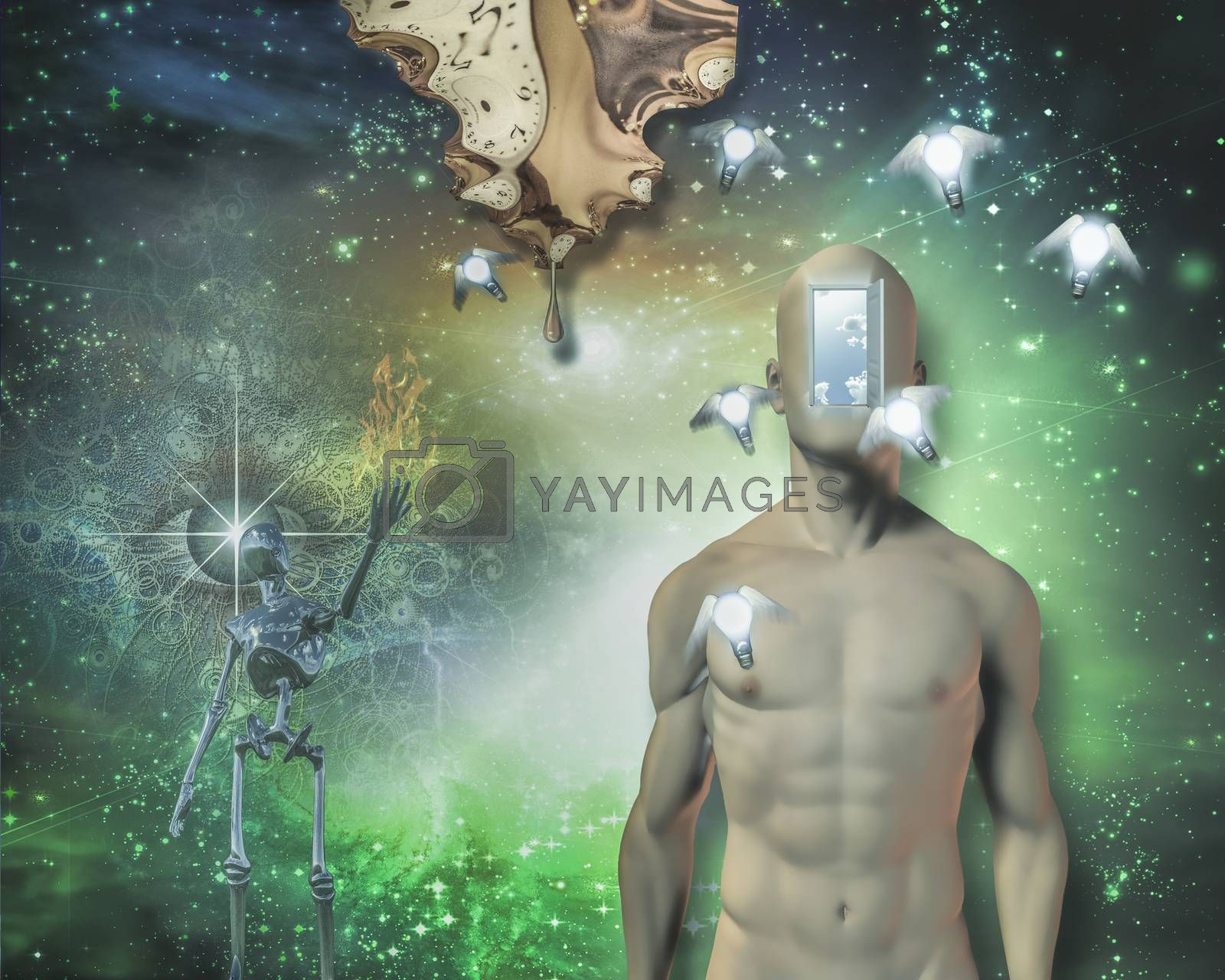 Man open door in face, winged light bulbs, warped time drips, gleaming robot, large flame, watchful eye and further still is deep space. 3D rendering