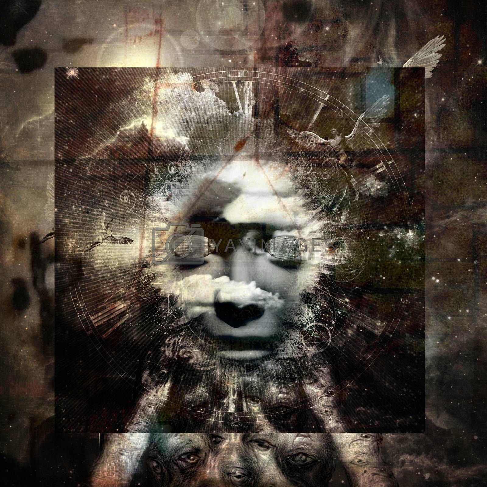 Angel Lust. Modern spiritual dark art. 3D rendering