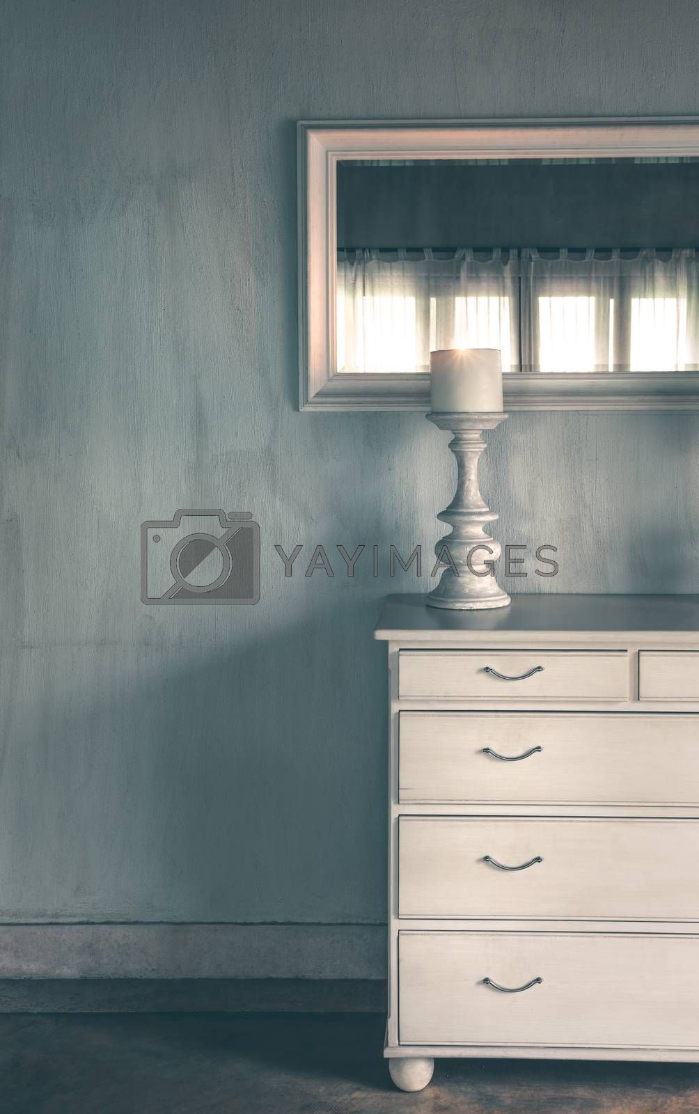 Vintage Style Room Decor. White Furniture over Modern Walls Background. Cozy Home Interior. Contemporary Luxury Elegant Mansion.