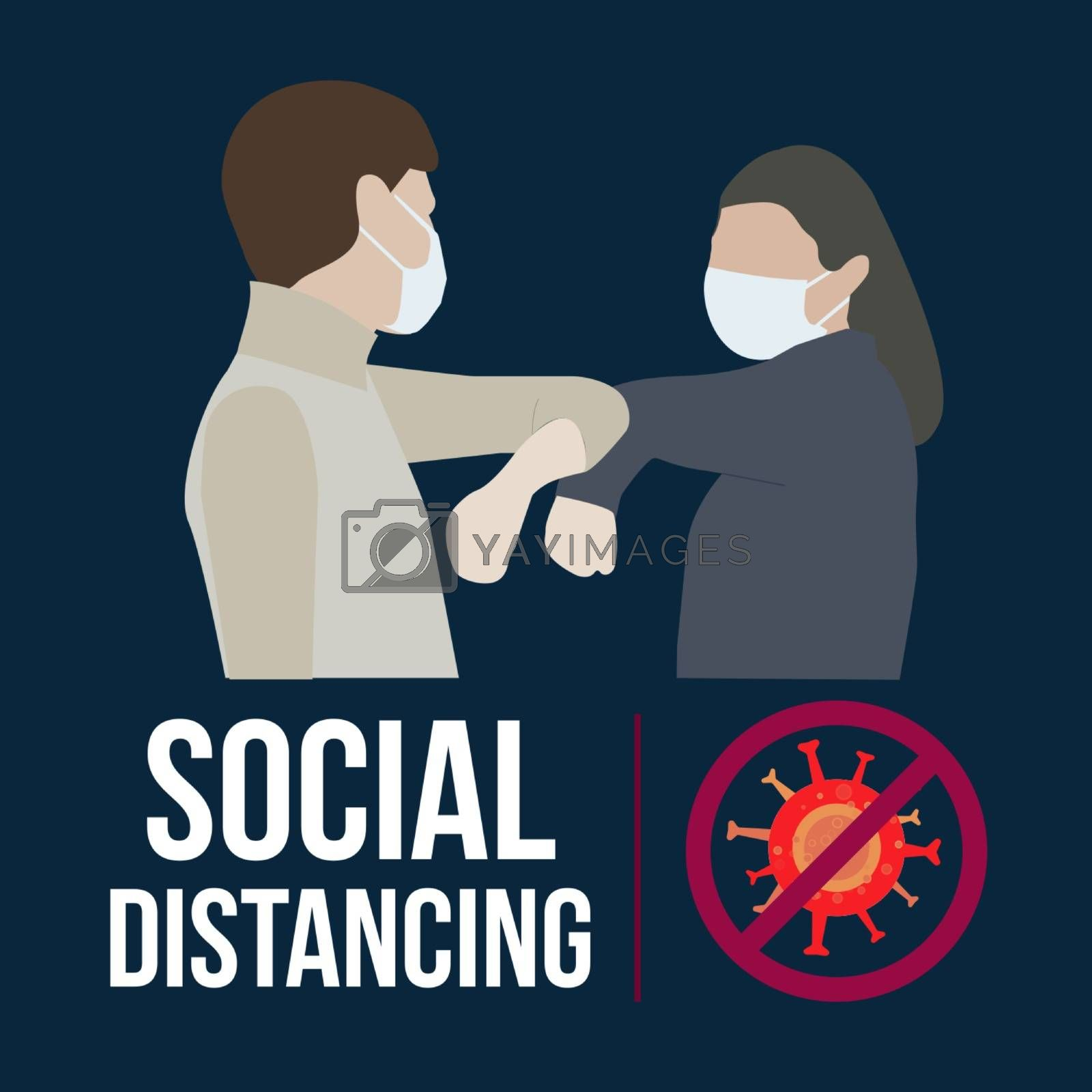 Social Distancing for covid 19 with couple using face mask.Keep distance in public society people to protect from COVID-19 coronavirus.Man and woman keep a distance.