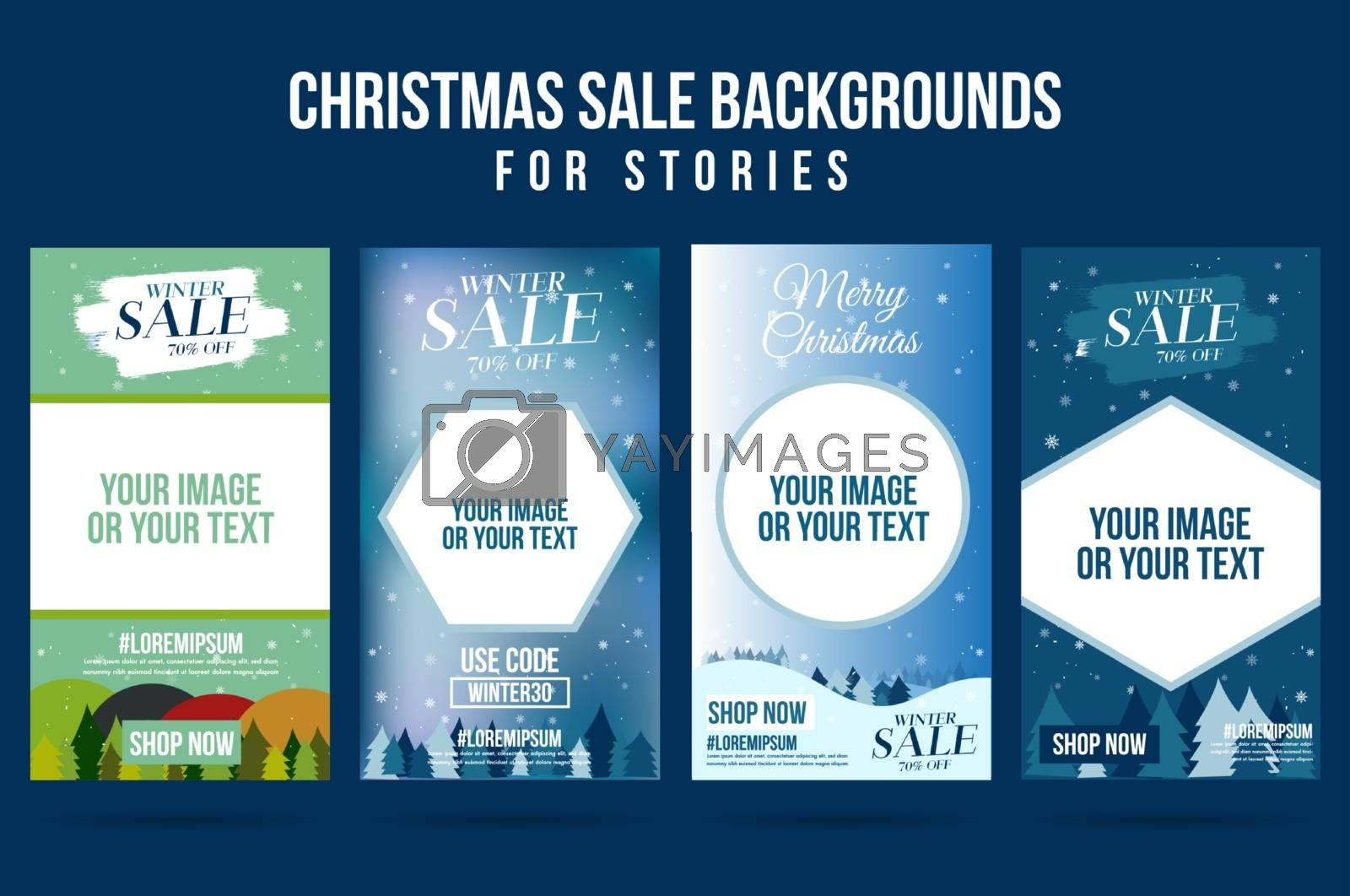 Set of christmas winter design sale story for background by Zeedoherty